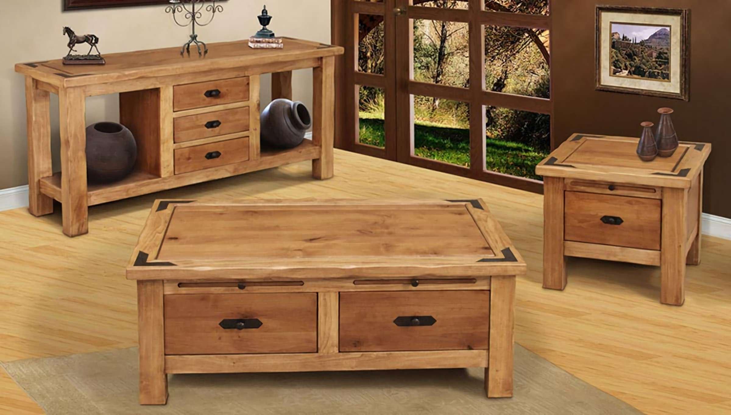 Well Liked Oak Storage Coffee Tables With Regard To Brown Rectangle Oak Rustic Storage Coffee Table And End Table Sets (View 18 of 20)