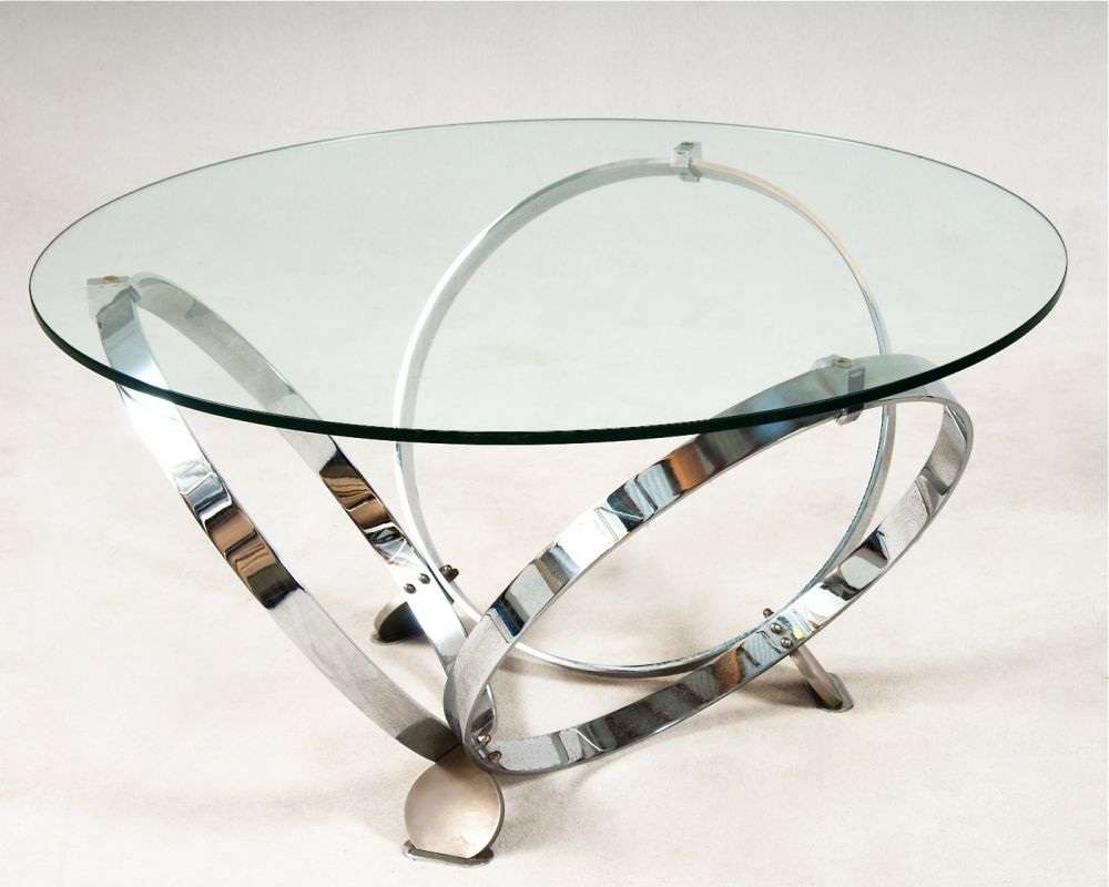 Well Liked Round Chrome Coffee Tables Intended For Round Black Glass And Chrome Coffee Table Modern Round Glass (View 19 of 20)