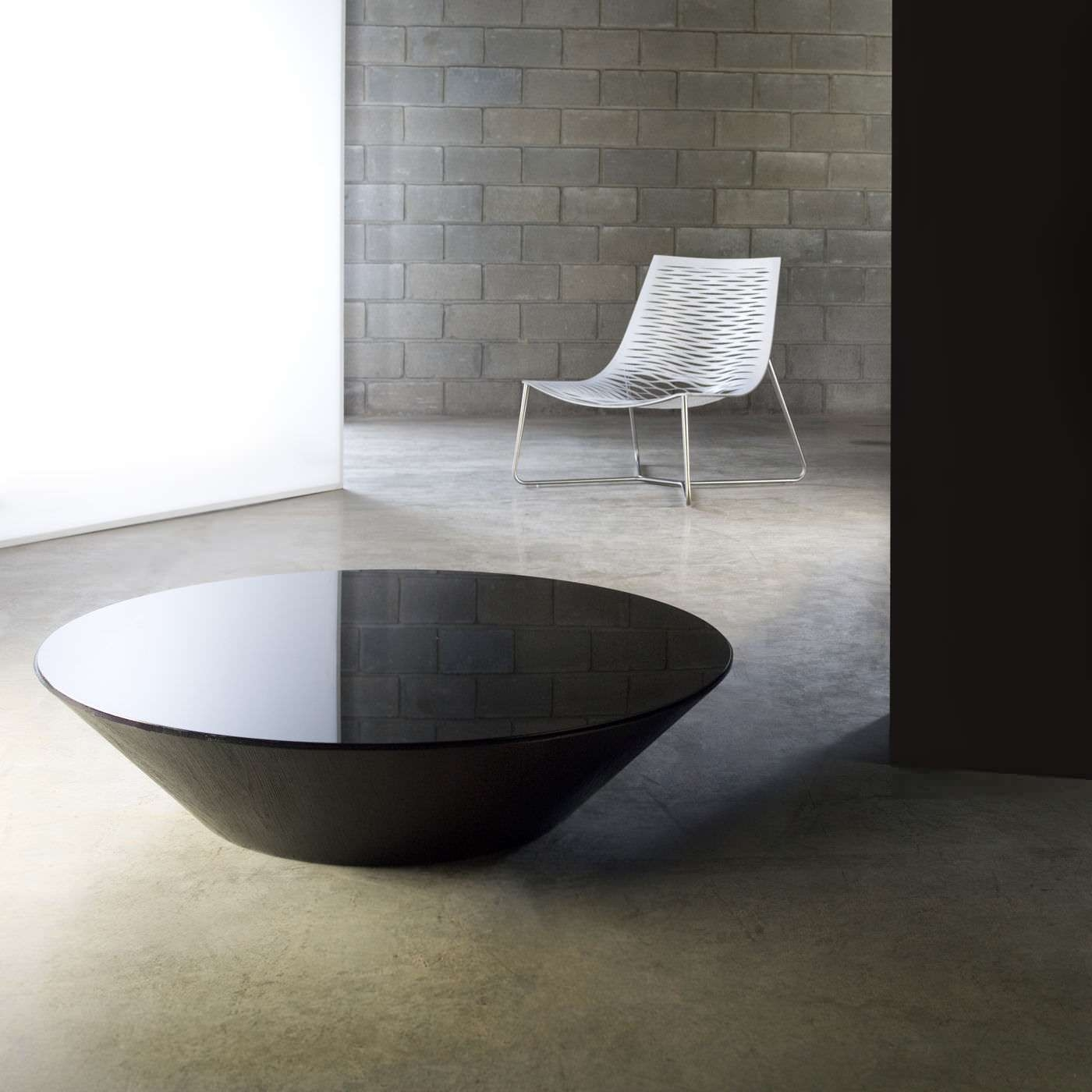 Well Liked Round High Gloss Coffee Tables With Decorations : Furniture Tear Drop Shape Glass Top With Brown High (View 19 of 20)