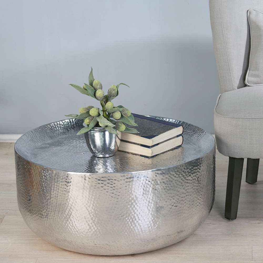 Well Liked Round Metal Coffee Tables With Round Hammered Metal Coffee Table With Bookshelf For Small Living (View 20 of 20)