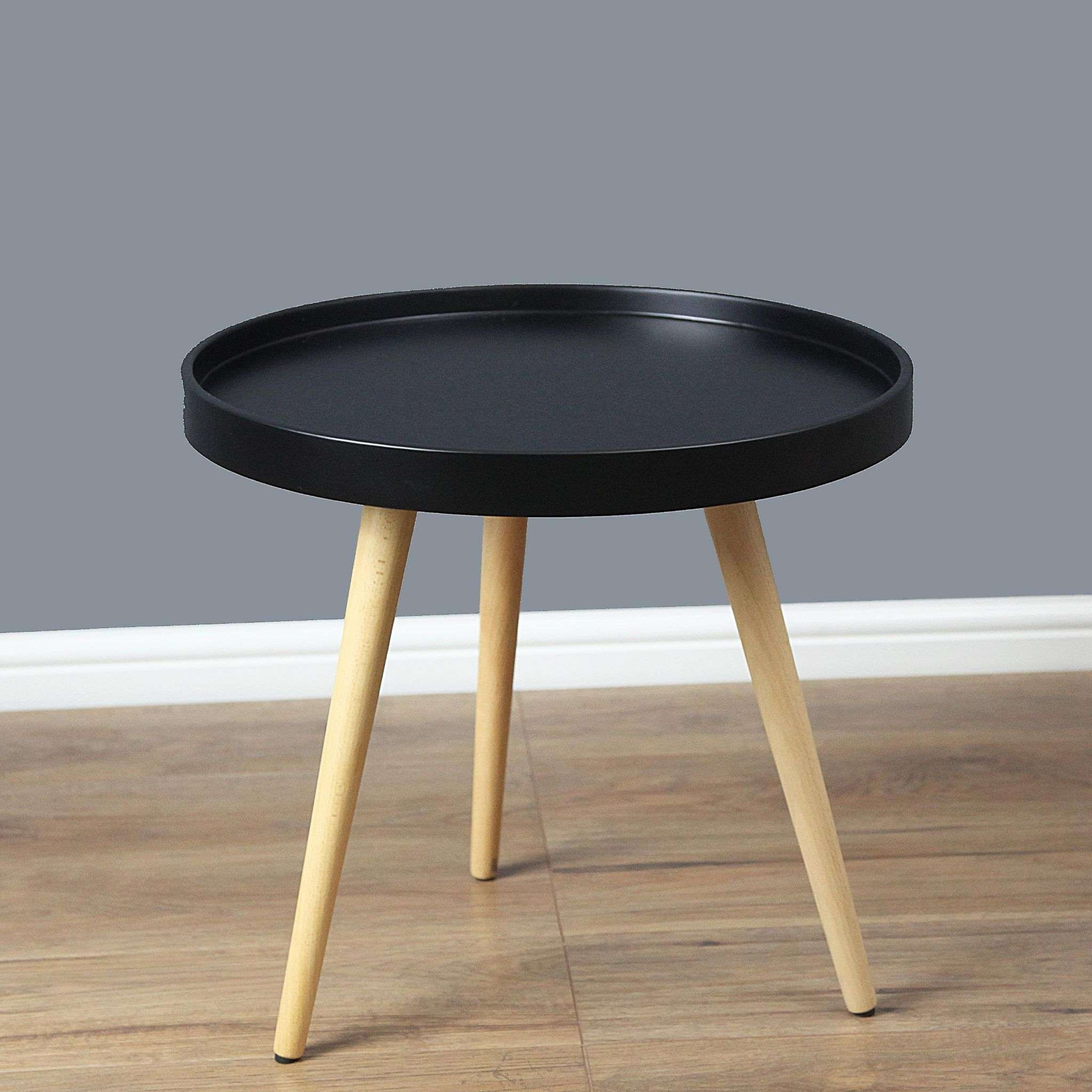 Well Liked Round Tray Coffee Tables Intended For Mmilo Capri Round Tray Table In 50Cm – Black Matt (View 20 of 20)