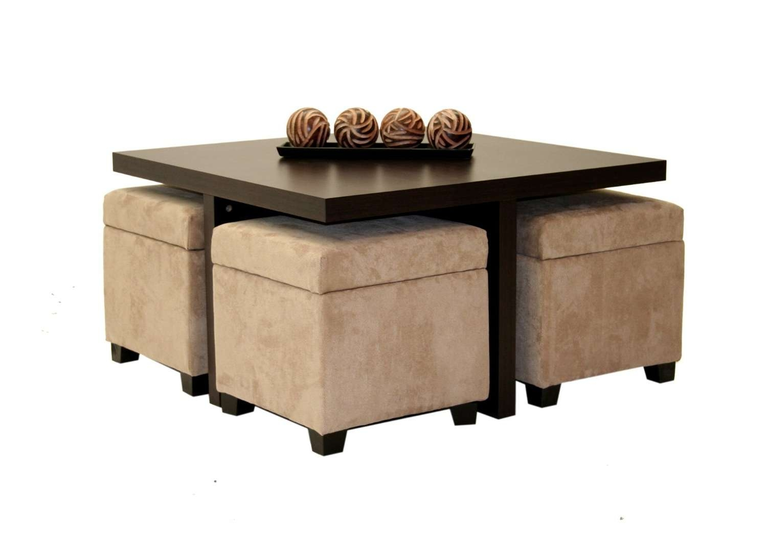 Well Liked Square Coffee Tables With Storage Cubes Throughout Coffee Table With Ottomans Underneath Decofurnish Storage Small (View 18 of 20)