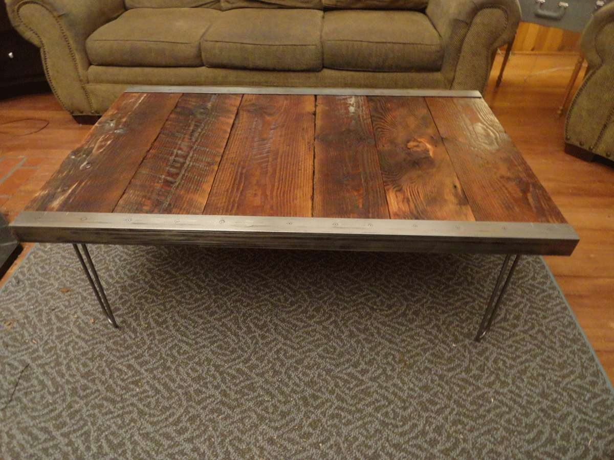 Well Liked Steel And Wood Coffee Tables Inside Customizable Industrial Coffee Table Old Barn Wood Raw Steel (View 6 of 20)