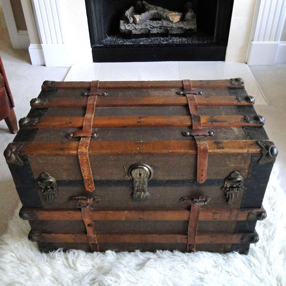 Well Liked Trunks Coffee Tables Regarding Coolest Metal Steamer Trunk Coffee Table About Interior Decor Home (View 14 of 20)