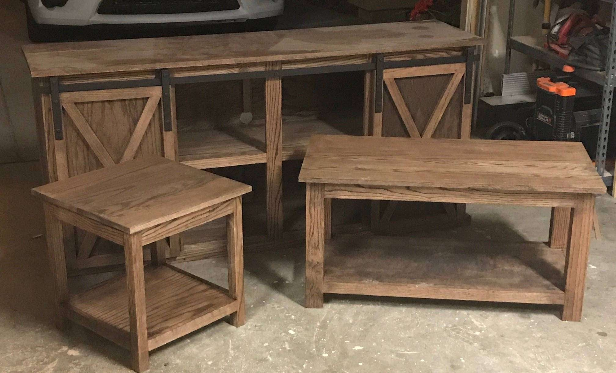 Well Liked Tv Stand Coffee Table Sets Intended For Red Oak Tv Stand/coffee Table And End Table Set (View 19 of 20)