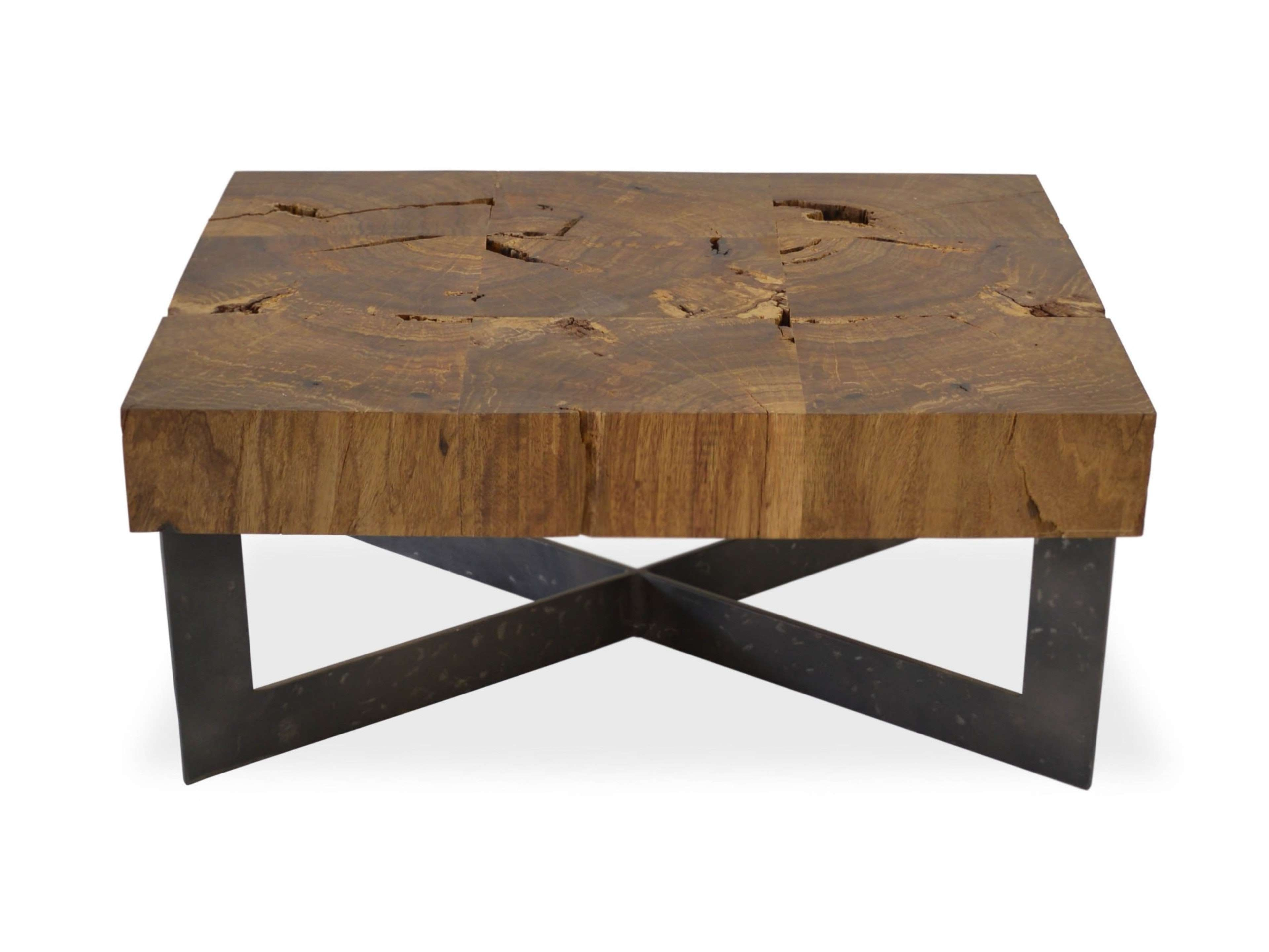 Well Liked Wood And Steel Coffee Table Pertaining To Coffee Tables : Reclaimed Wood Mosaic Coffee Table Metal Base (View 20 of 20)