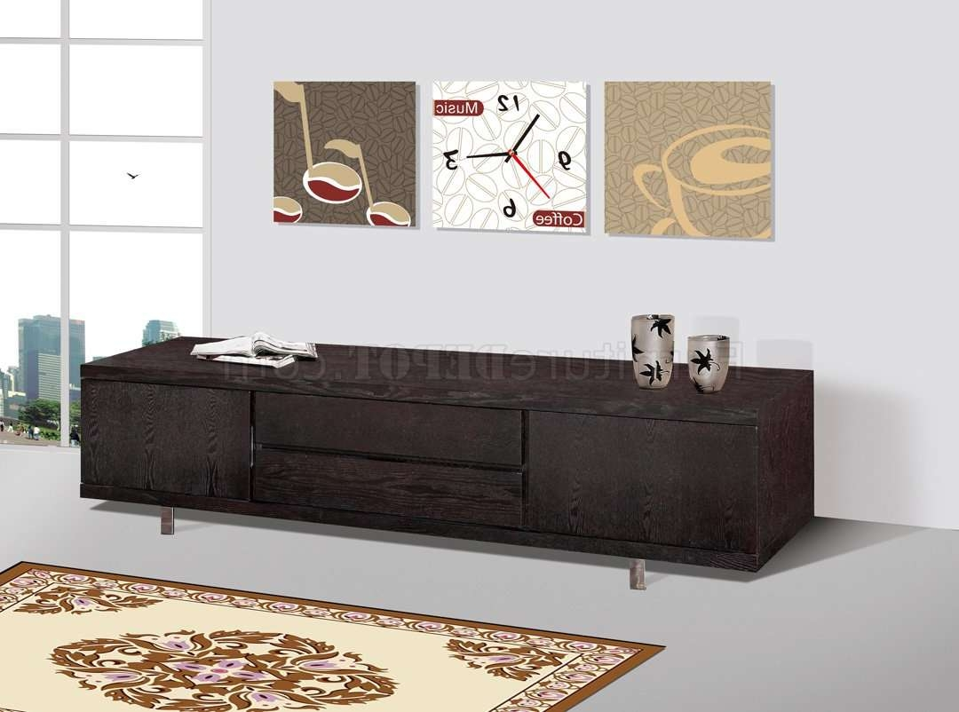 Wenge Finish Modern Entertainment Tv Stand W/metal Legs In Wenge Tv Cabinets (View 12 of 20)