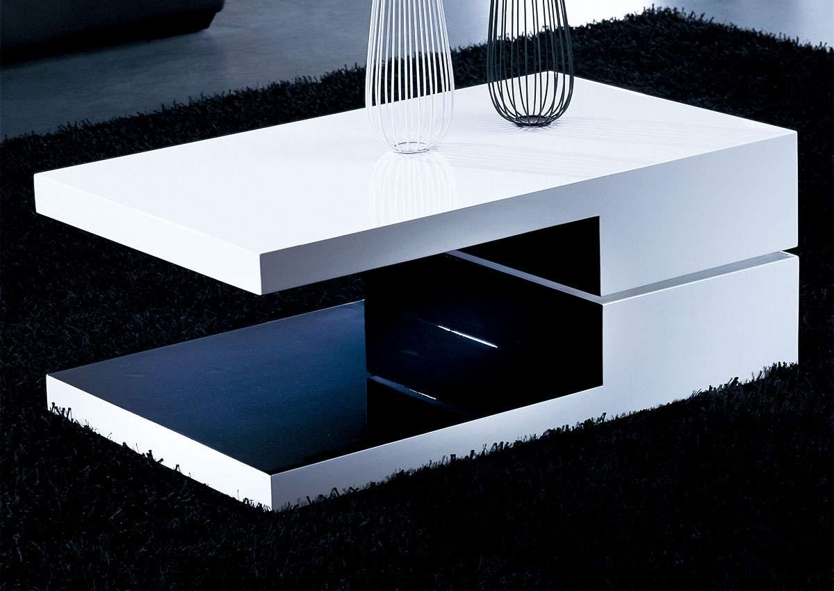 White And Black Rectangular High Gloss Contemporary Coffee Table In Famous Swivel Coffee Tables (View 20 of 20)