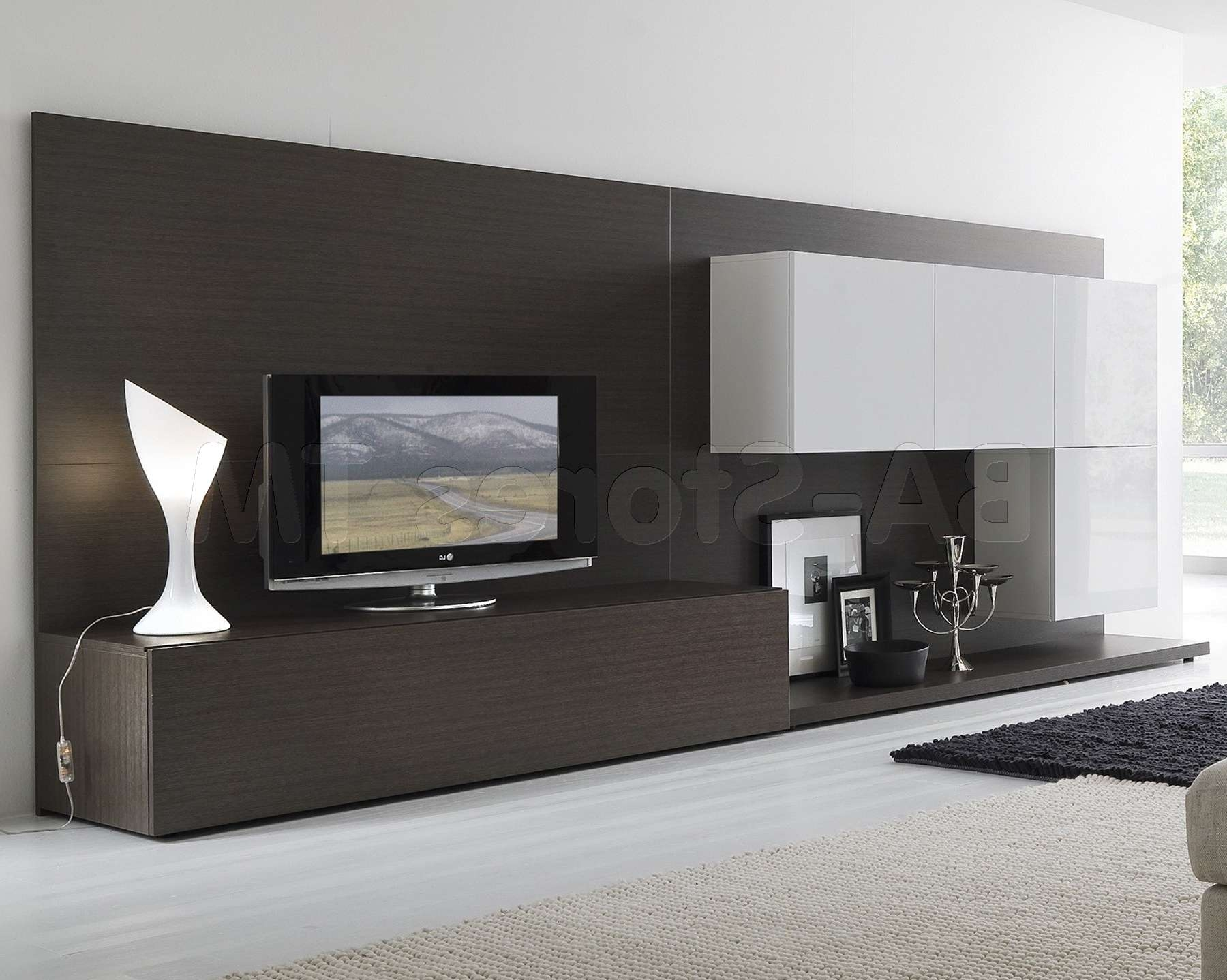 White And Black Wooden Cabinet With Rectangle Flat Screen Tv And Throughout Modern Tv Cabinets For Flat Screens (View 8 of 20)
