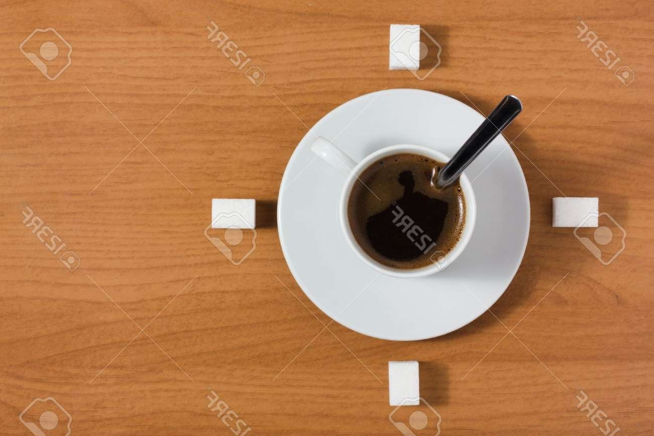 White Coffee Cup With Saucer And Sugar Like A Clock On A Wooden In Famous Coffee Tables With Clock Top (View 18 of 20)