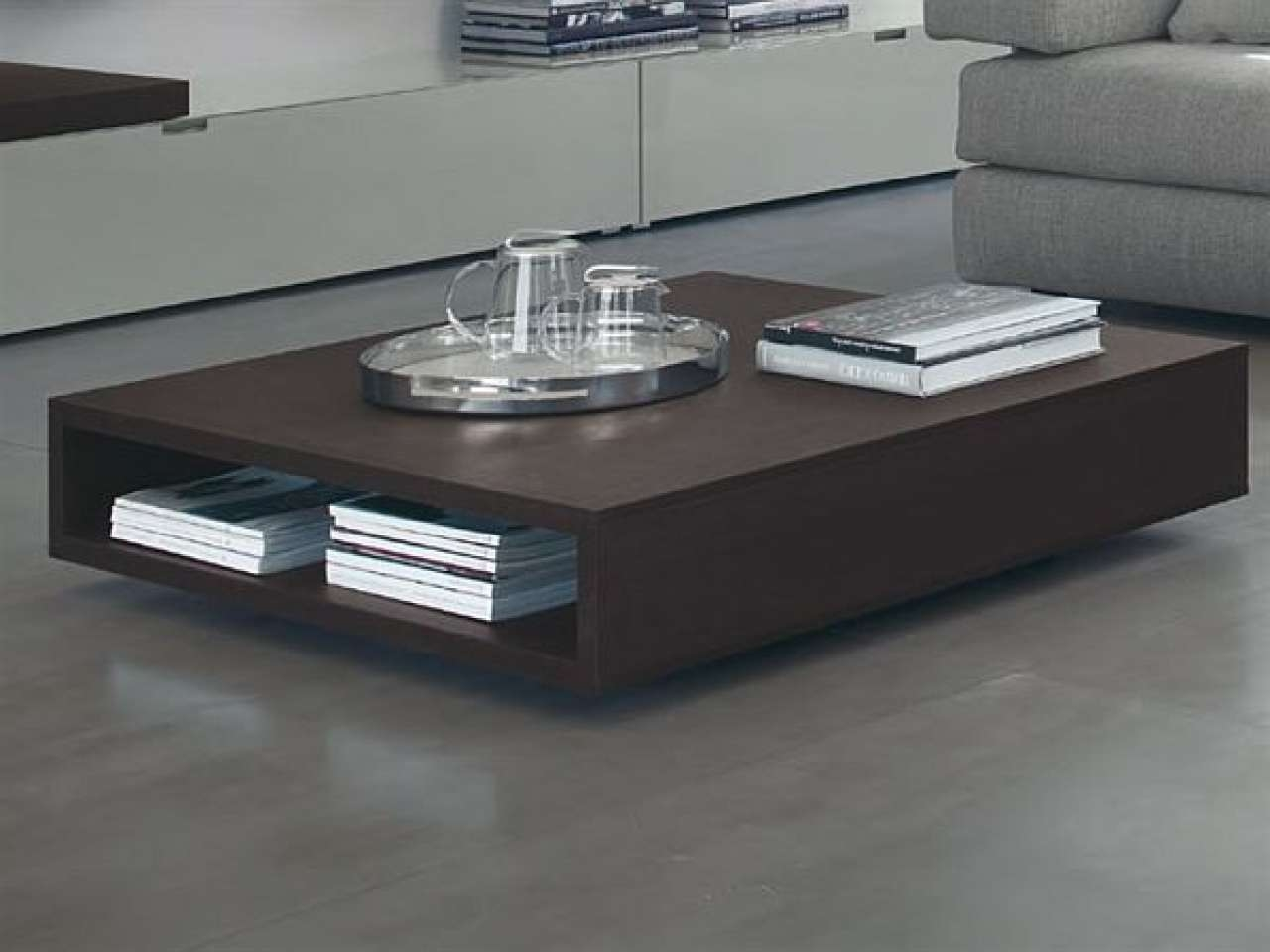White Coffee Table Modern Shadow Below All Fabulous Legs Stainless Pertaining To Most Popular Large Low Coffee Tables (View 7 of 20)