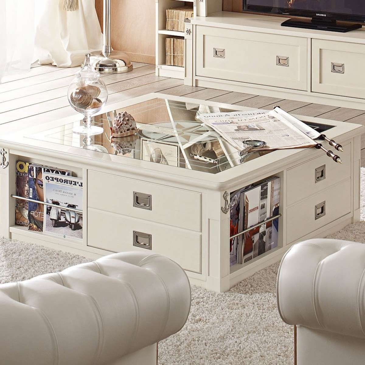 White Coffee Table With Storage Intended For Trendy Square Coffee Table With Storage Drawers (View 11 of 20)