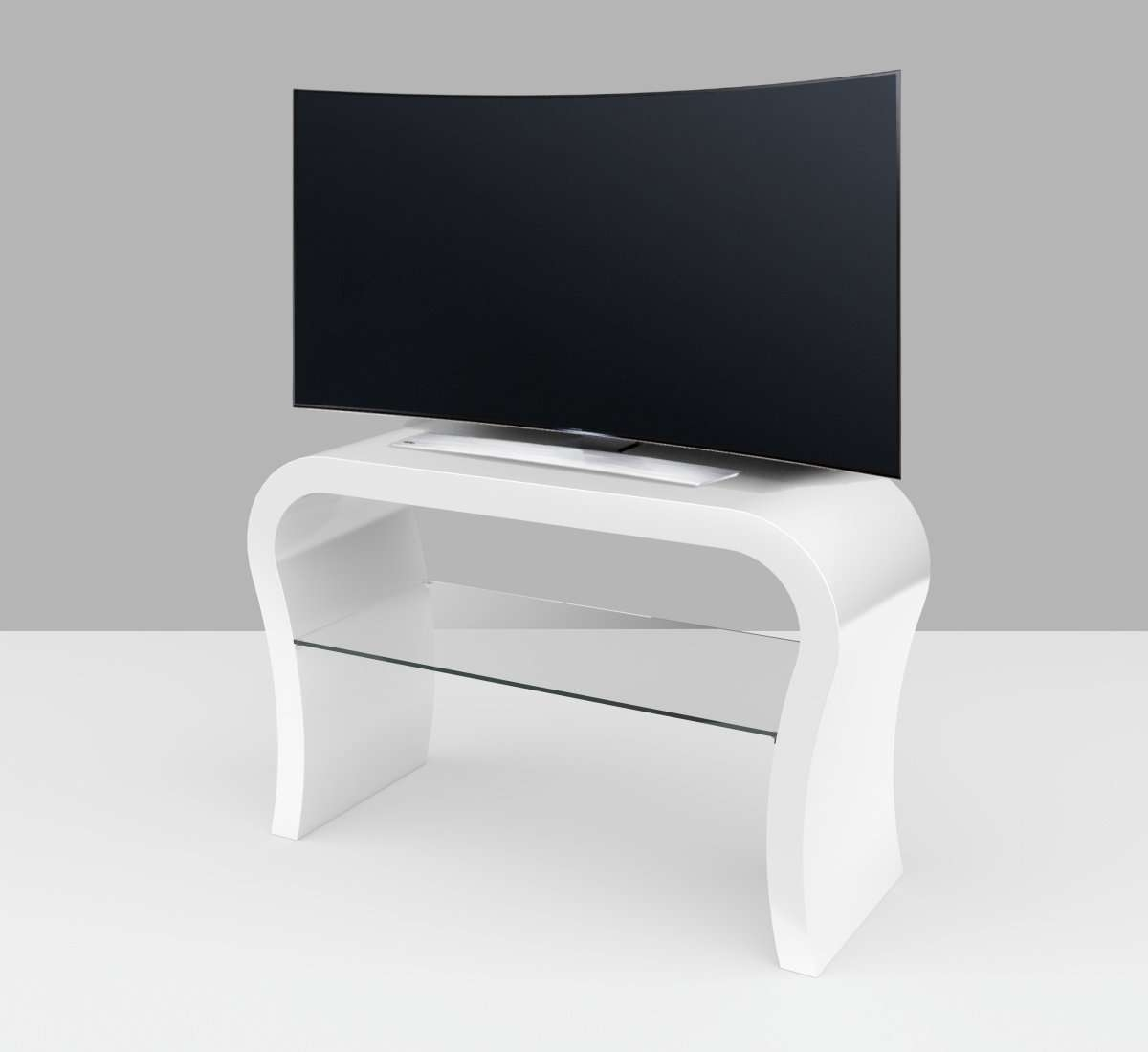 White Gloss Tv Stand – Curved – Free Uk Delivery – Zespoke Intended For White Gloss Tv Cabinets (View 5 of 20)