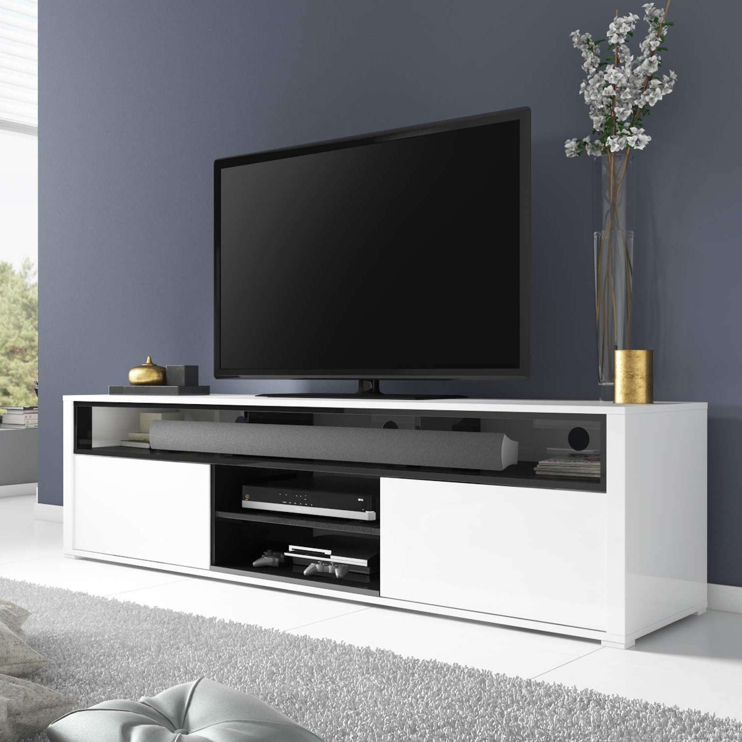 White High Gloss Tv Unit With Soundbar Shelf/ Tv Cabinet/ Tv Stand For Tv Cabinets Gloss White (View 18 of 20)