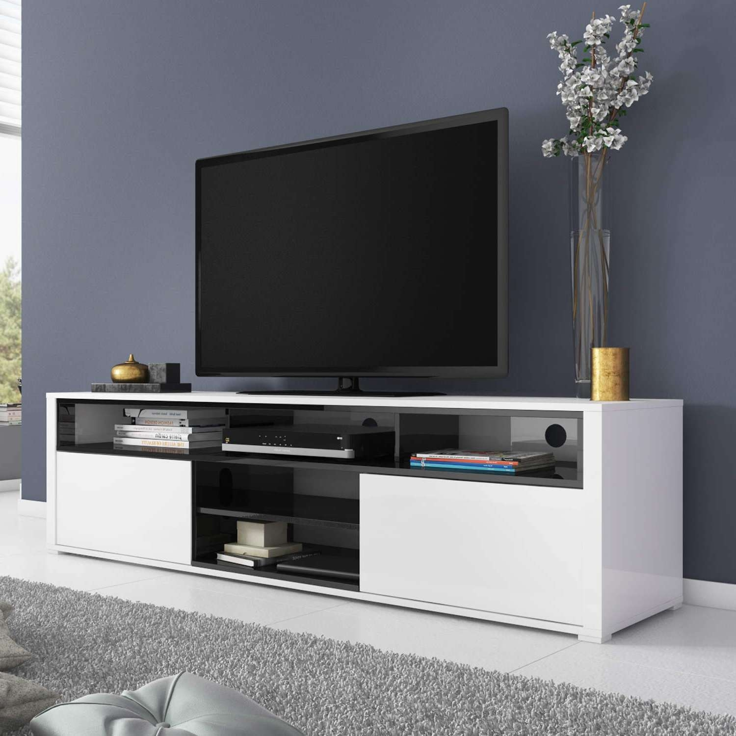 White High Gloss Tv Unit With Soundbar Shelf/ Tv Cabinet/ Tv Stand Intended For High Gloss Tv Cabinets (View 14 of 20)