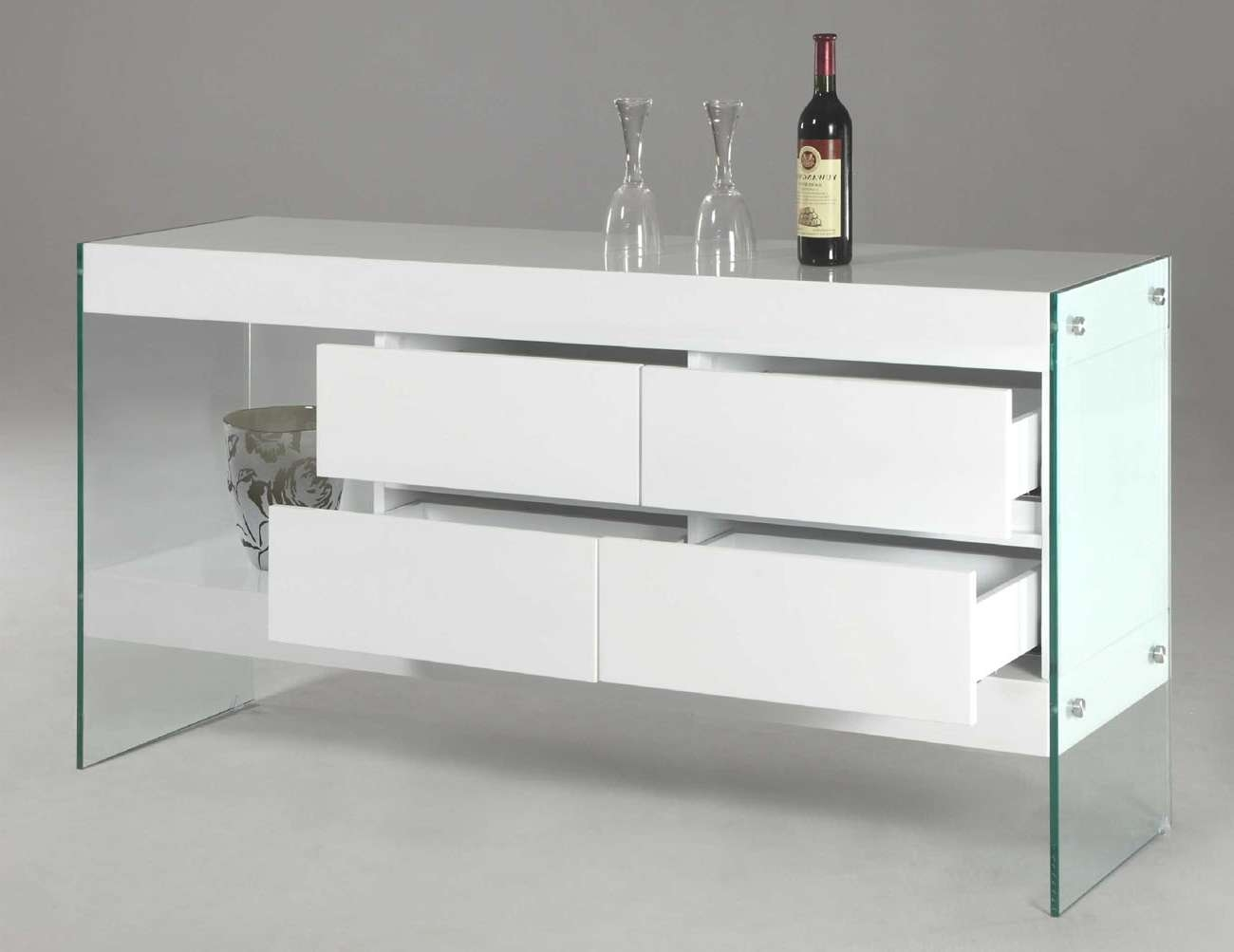 White Lacquer Wood With Glass Sides And Legs Contemporary Intended For Glass Sideboards (View 12 of 20)