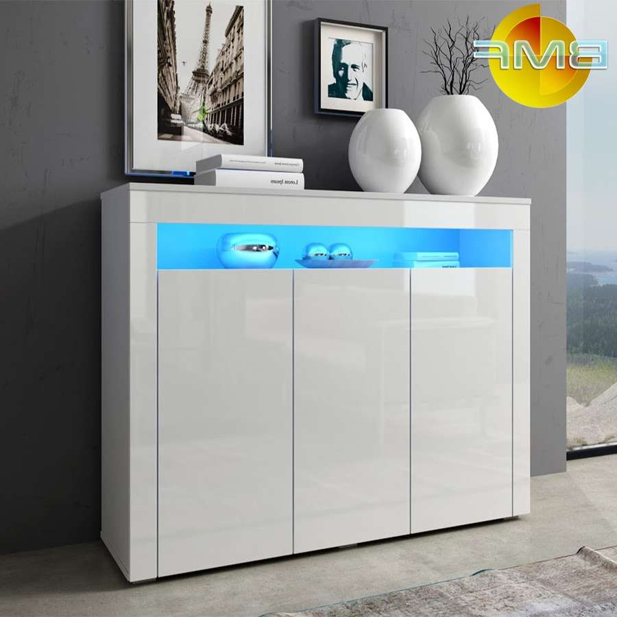White Modern High Gloss Cabinet Sideboard Cupboard Buffet Rgb Led For High White Gloss Sideboards (View 7 of 20)