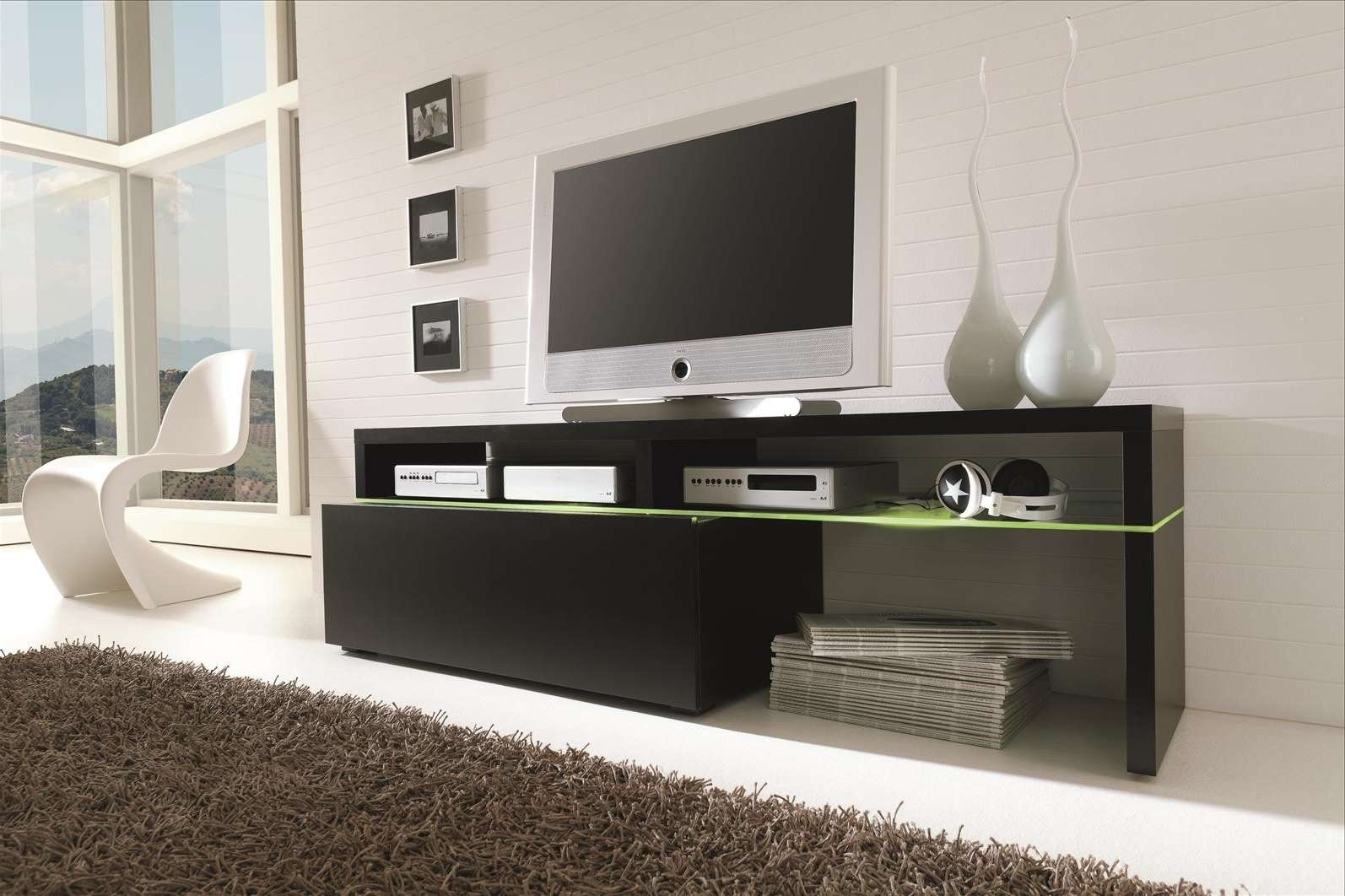 White S Panton Chair Next To Modern Long Black Media Cabinet And With Regard To Long White Tv Cabinets (View 17 of 20)