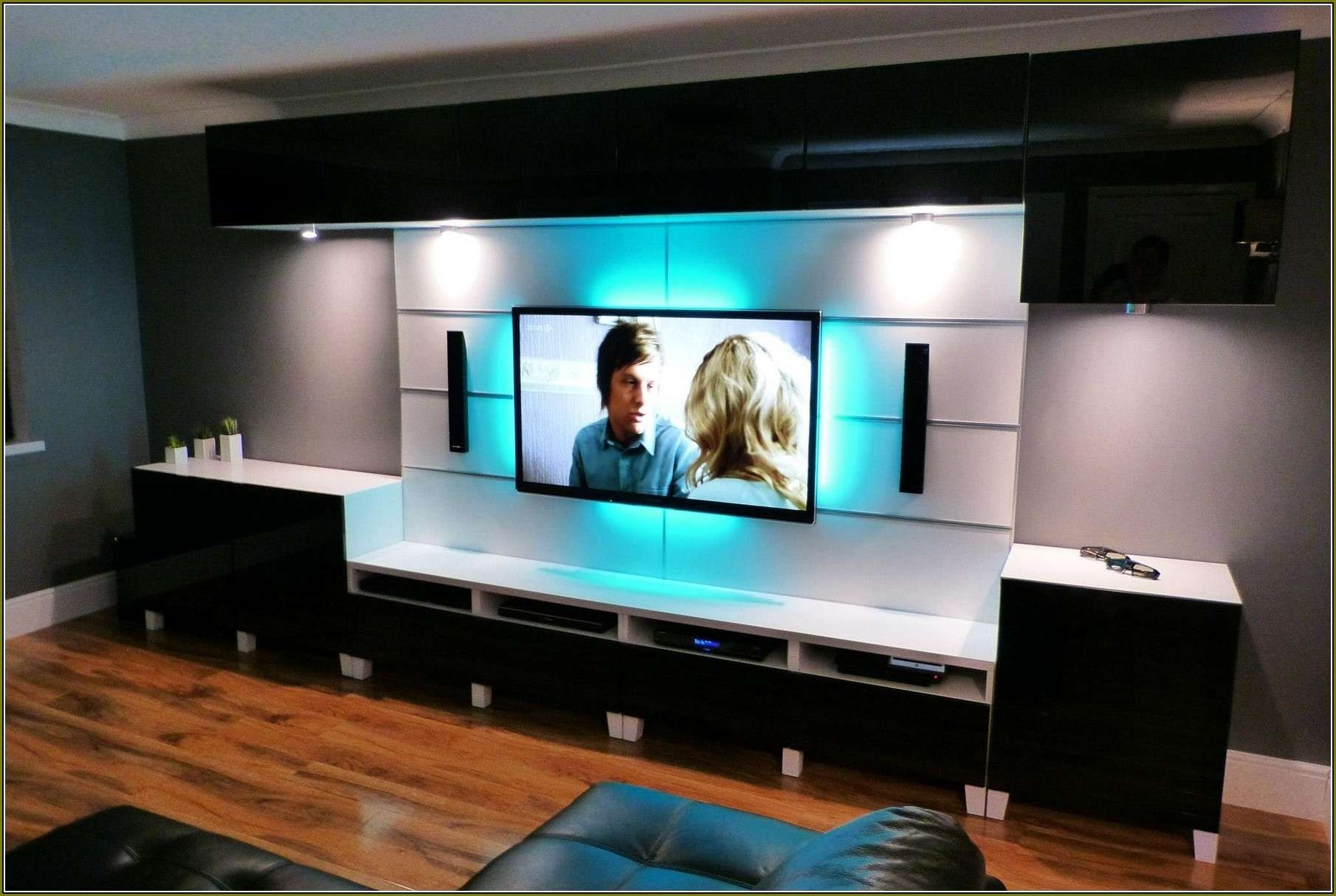 White Solid Wood Wall Mount Tv Stand With Blue Led Light Of With Regard To Led Tv Cabinets (View 14 of 20)