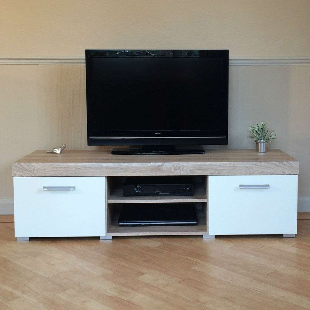White & Sonoma Oak Effect 2 Door Tv Cabinet Plasma Low Bench Stand Pertaining To White Wood Tv Cabinets (View 15 of 20)
