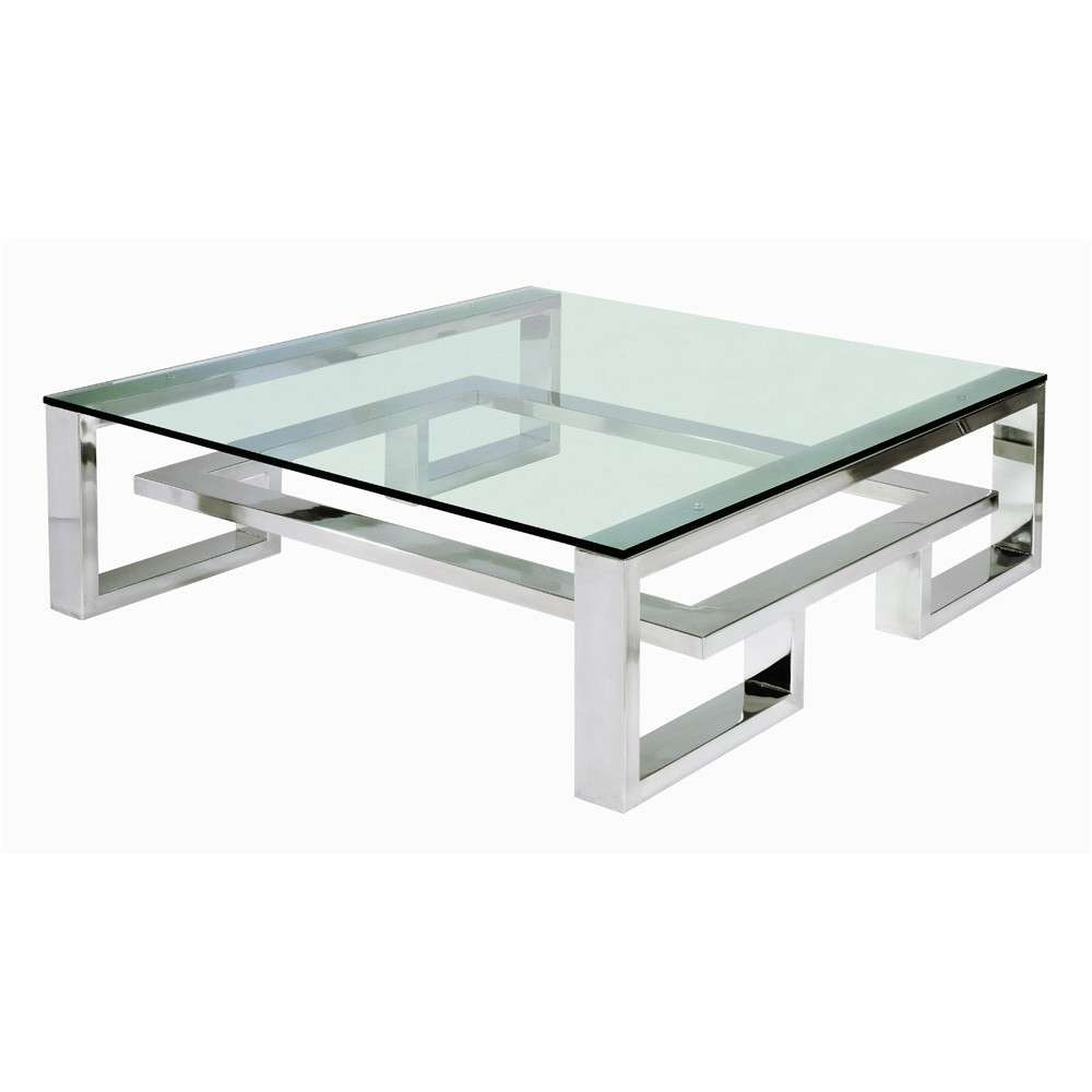 White Square Modern Glass Top And Stainless Steel Coffee Table With Latest Stainless Steel Trunk Coffee Tables (View 20 of 20)
