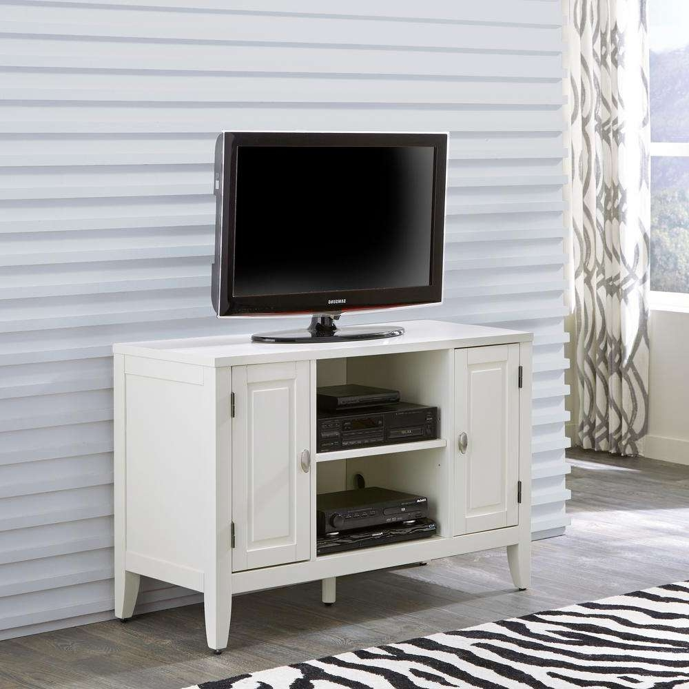 White – Tv Stands – Living Room Furniture – The Home Depot Intended For Long White Tv Cabinets (View 17 of 20)