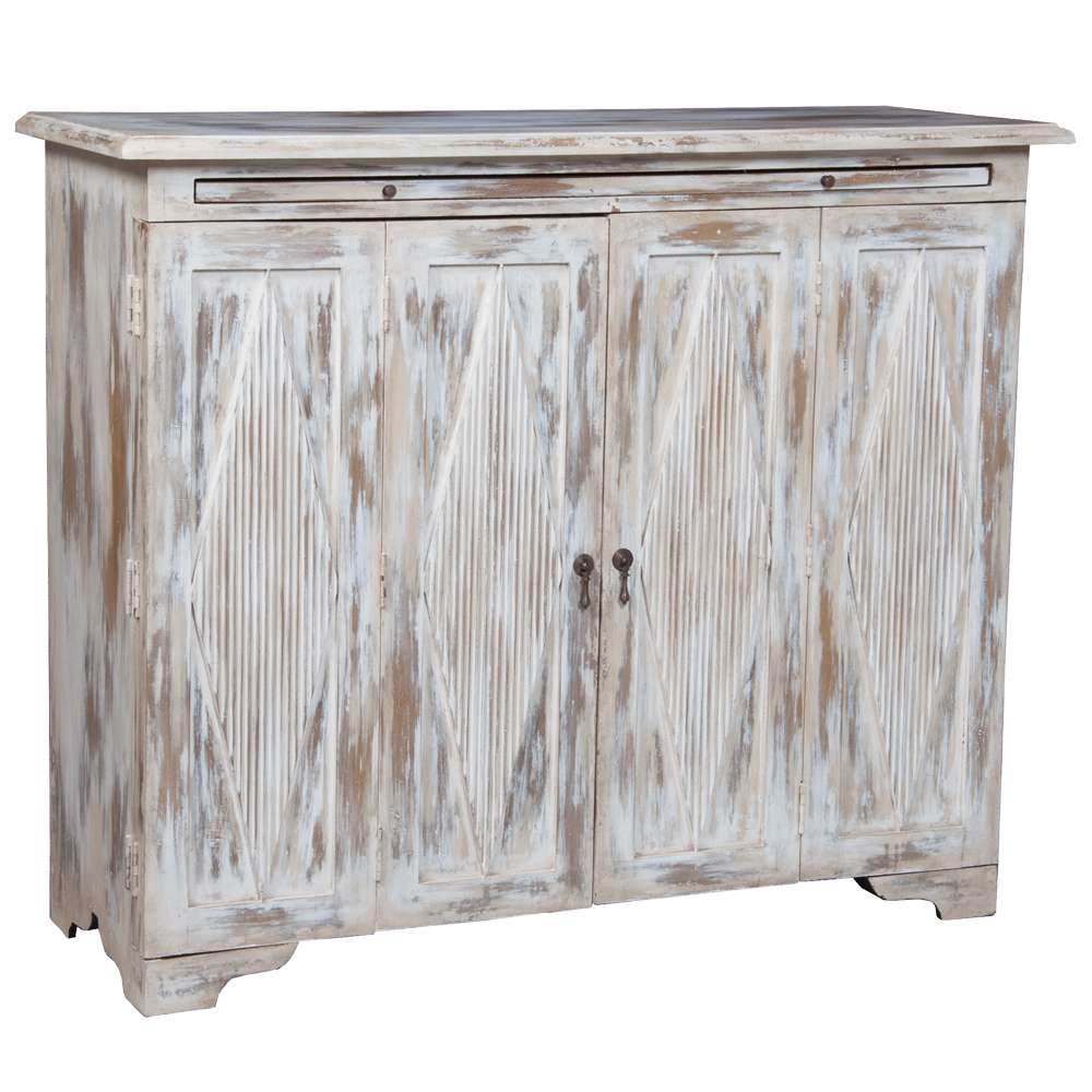 White Washed Farmhouse Sideboard – Diamond Accented Inside Whitewash Buffets Sideboards (View 16 of 20)
