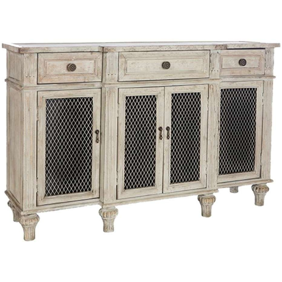 White Washed French Country Sideboard Wire Door Fronts With Intended For Country Sideboards (View 5 of 20)