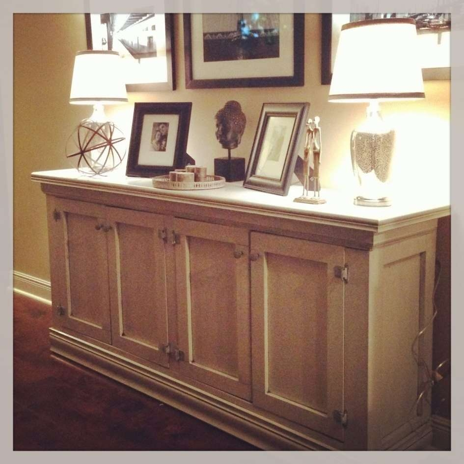 White Wood Sideboard Large Buffet Cabinet Credenza Sideboard White Inside Glass Buffet Table Sideboards (View 20 of 20)