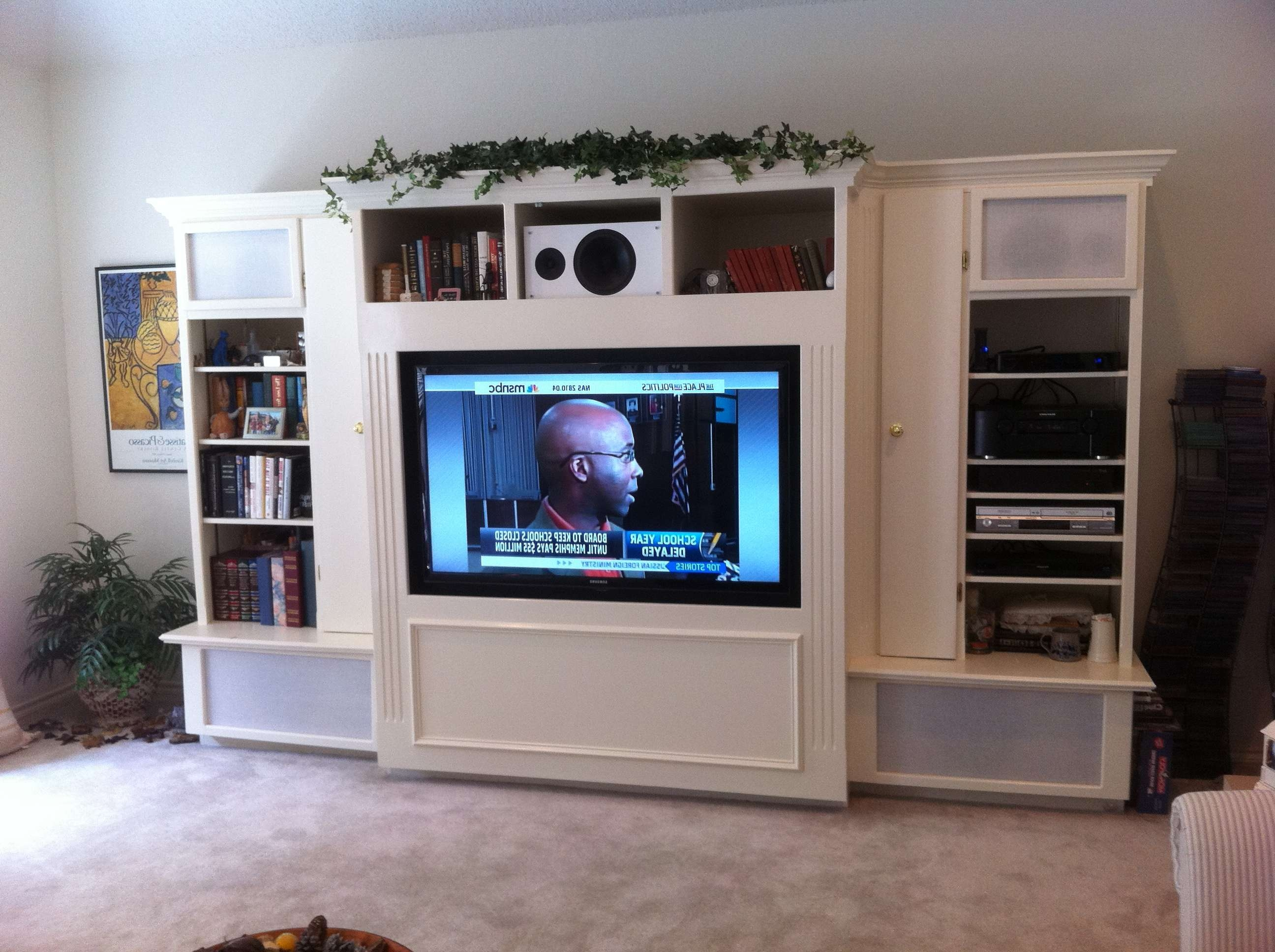 White Wooden Cabinet And Shelves Also Rectangle Black Flat Screen Inside Large Tv Cabinets (View 19 of 20)