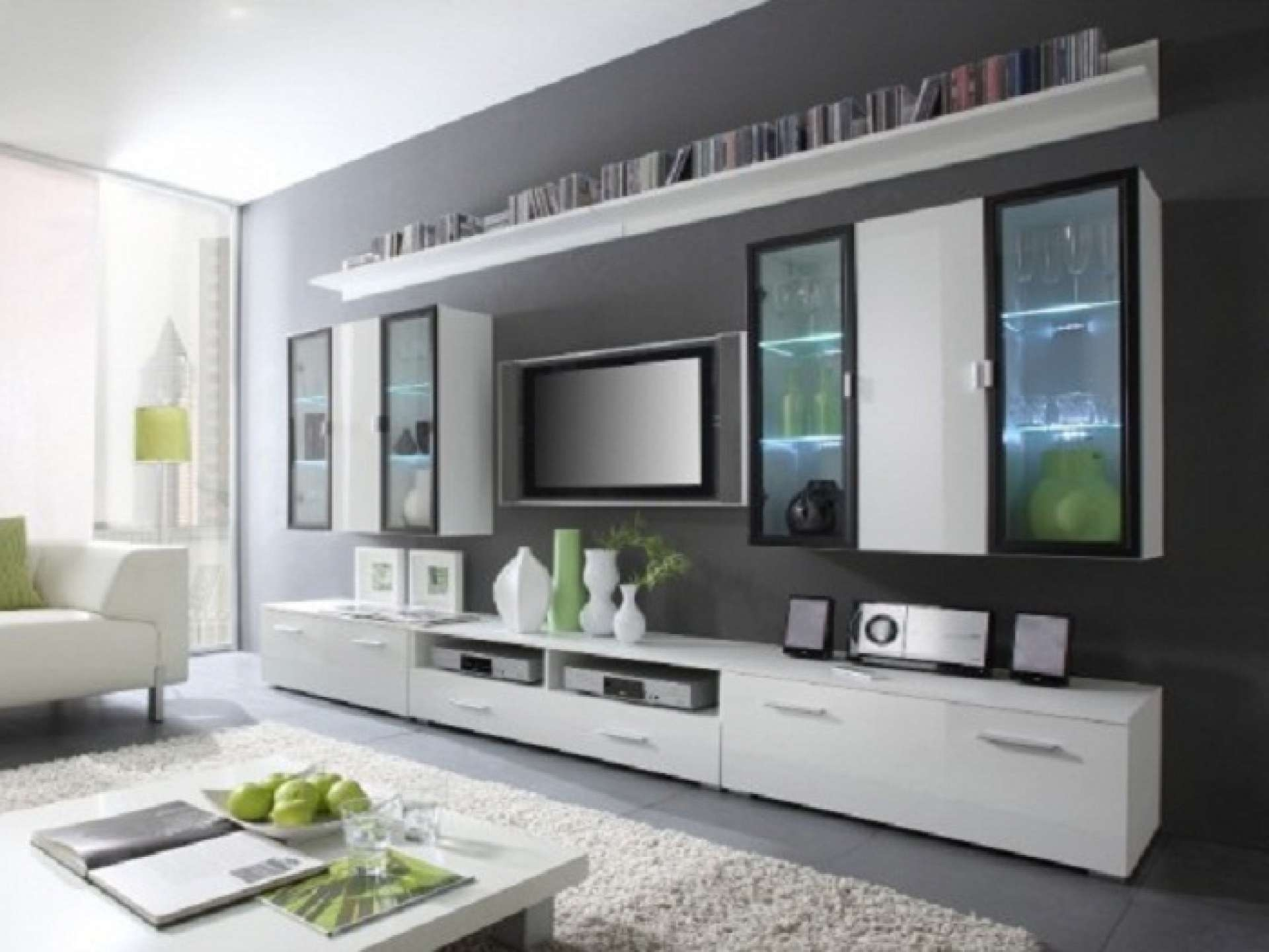 White Wooden Cabinet And Shelves Having Wooden And Glass Door Also Inside Wall Mounted Tv Cabinets For Flat Screens With Doors (View 2 of 20)
