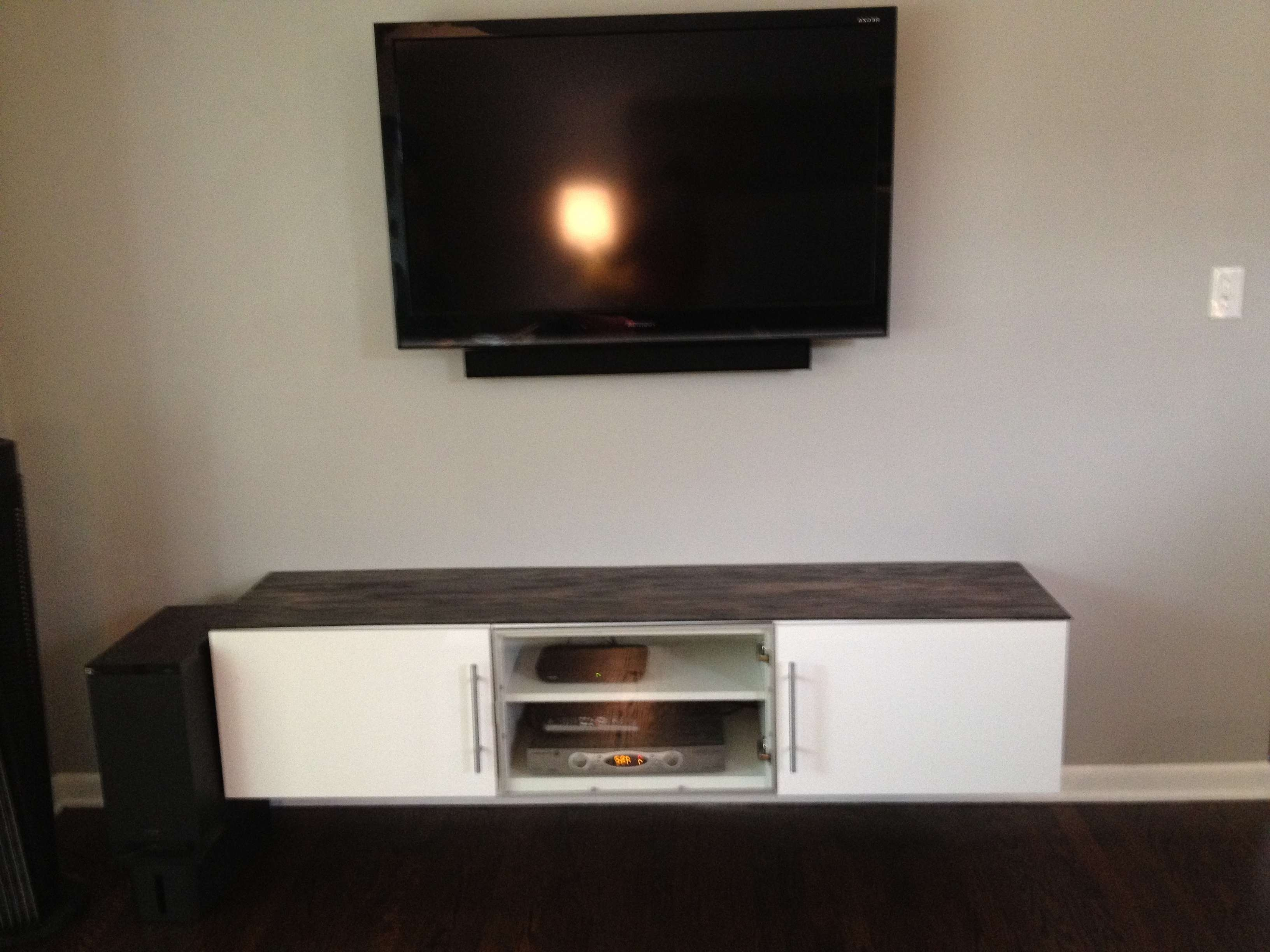 White Wooden Cabinet With Grey Top On Laminate Flooring Plus Regarding Wall Mounted Tv Cabinets Ikea (View 6 of 20)