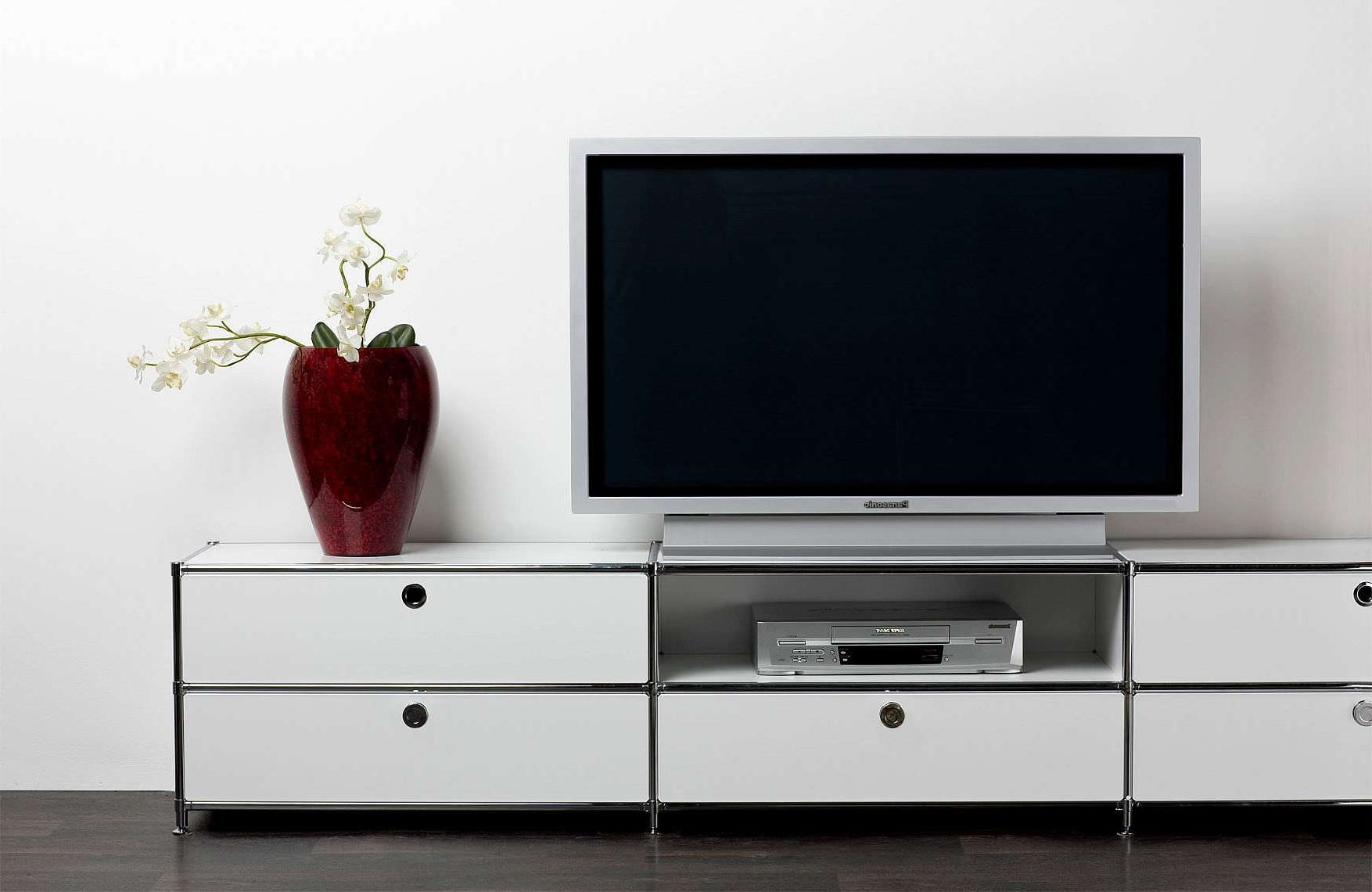 White Wooden Tv Cabinet With Drawers And Rack Also Stainless Steel Regarding Tv Cabinets With Drawers (View 19 of 20)