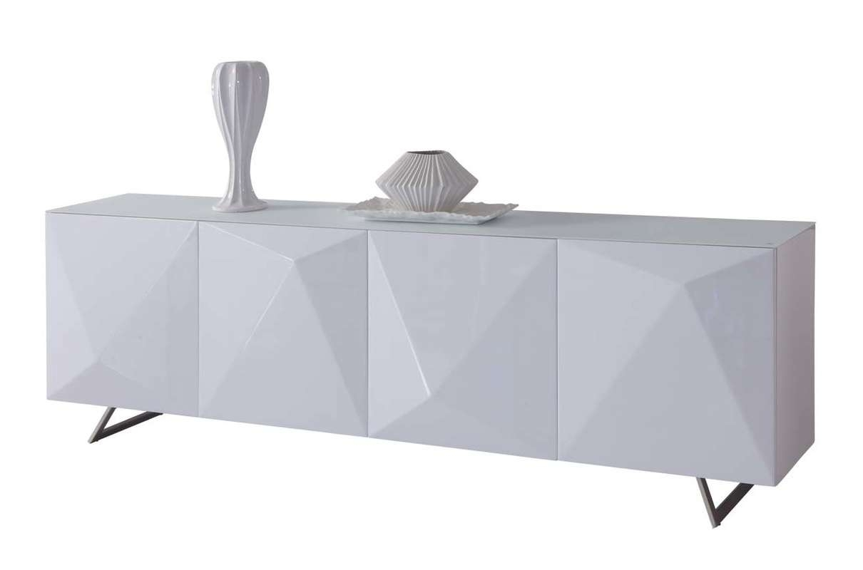 Whiteline Imports Samantha Sideboard & Reviews | Wayfair In High Gloss Grey Sideboards (View 11 of 20)