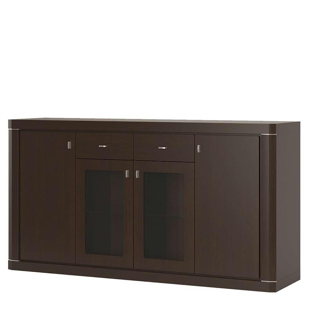 Wide 4 Door 2 Drawer Glazed Sideboard In Dark Wenge Within Wenge Sideboards (View 18 of 20)