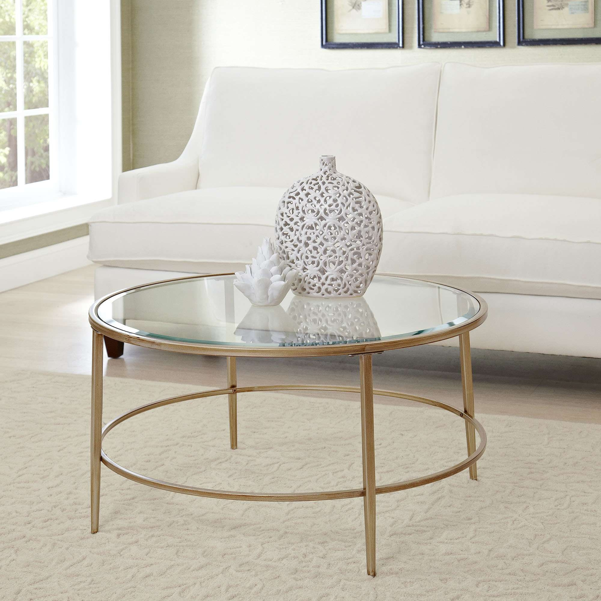Widely Used Circular Glass Coffee Tables With Regard To Coffee Tables : Gold Glass Coffee Table Uttermost Henzler And Leaf (View 7 of 20)