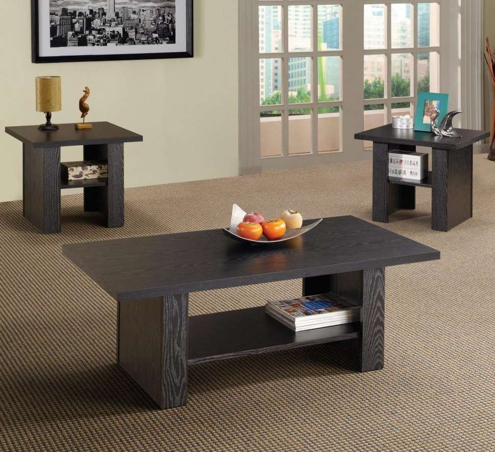 Widely Used Coffee Tables And Side Table Sets Throughout Furniture : Black Coffee Table Sets Black Side Table Glass Coffee (View 7 of 20)
