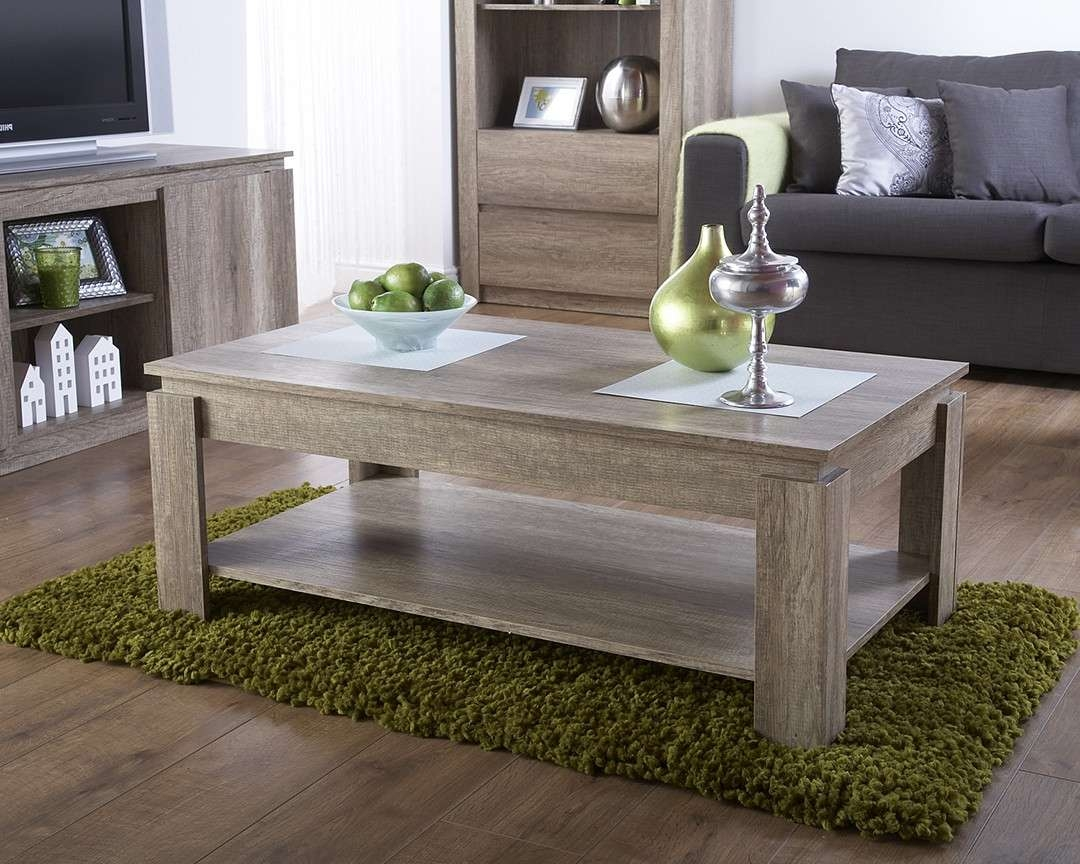Widely Used Dark Oak Coffee Tables Throughout Modern Wood Canyon Oak Coffee Table Living Room Furniture Shelf (View 12 of 20)