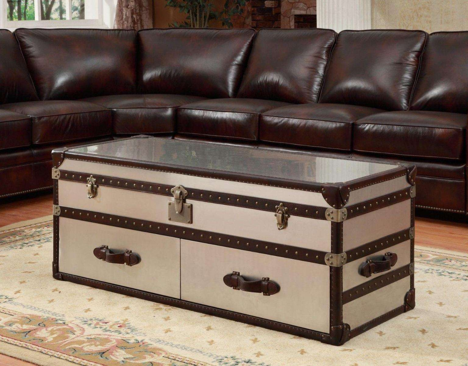 Widely Used Large Trunk Coffee Tables Inside Coffee Tables : Beautiful Glass Restoration Hardware Richards (View 19 of 20)