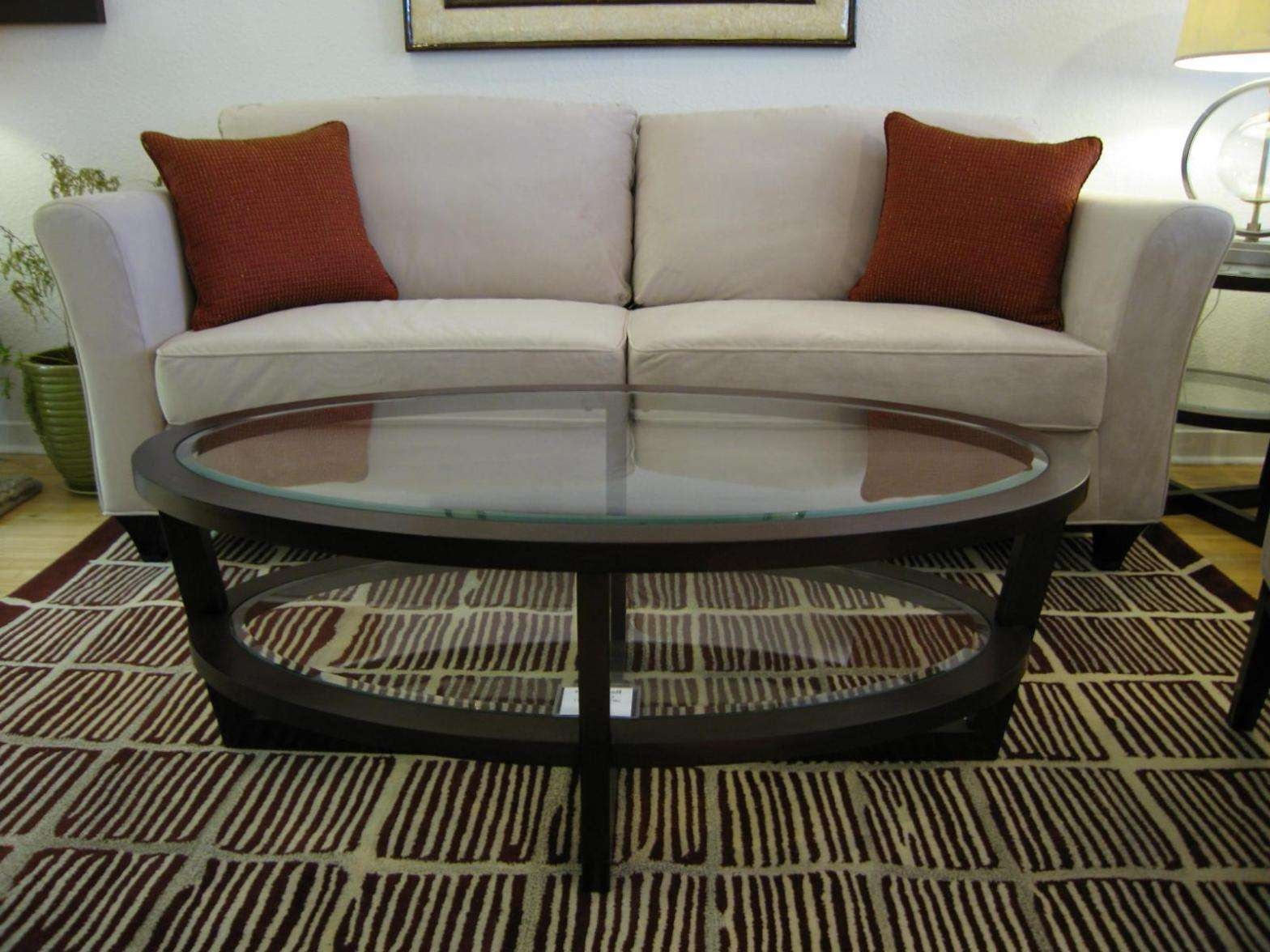 Widely Used Oval Glass Coffee Tables Pertaining To Oval Glass Wood Coffee Table Best Small — The Home Redesign : Very (View 10 of 20)