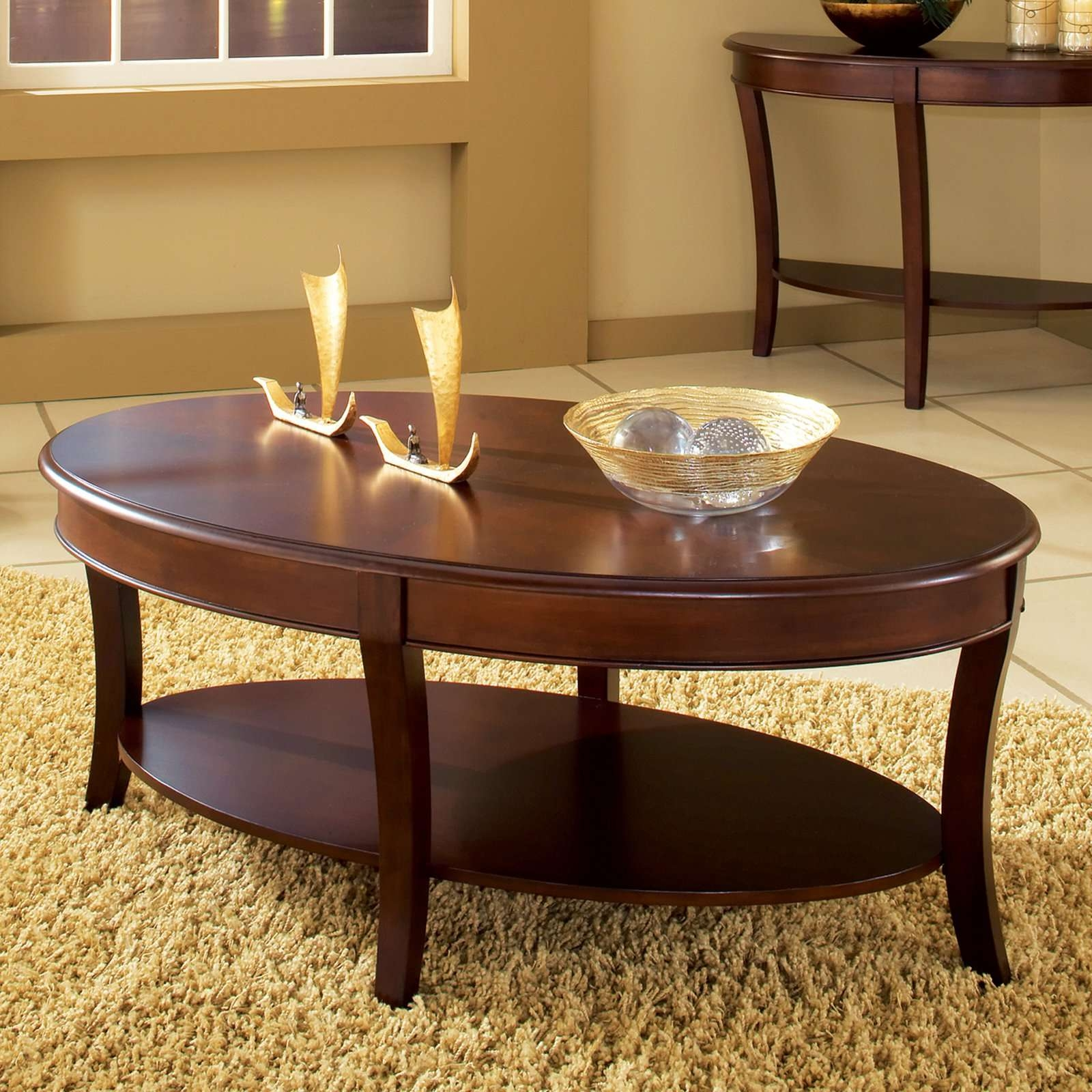 Widely Used Oval Wood Coffee Tables Intended For Steve Silver Troy Oval Cherry Wood Coffee Table – Walmart (View 10 of 20)
