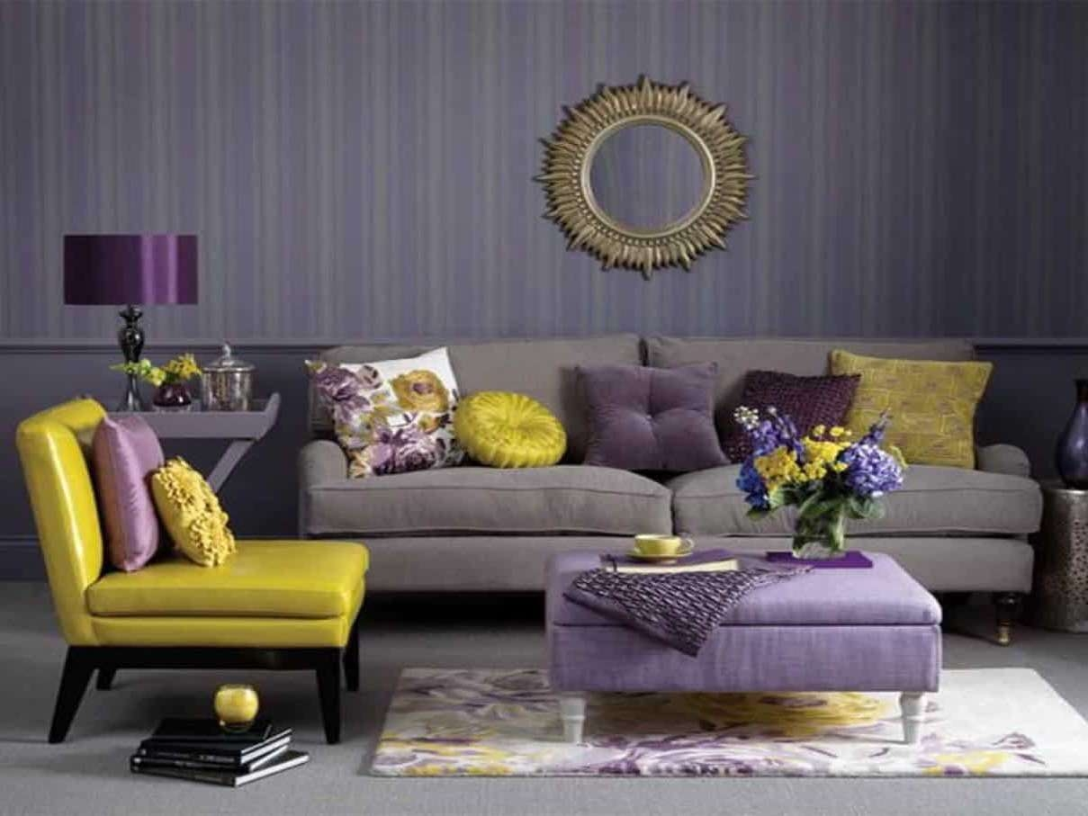 Widely Used Purple Ottoman Coffee Tables With Regard To Stylish Living Room Using Stripes Wallpaper And Yellow Purple (View 12 of 20)