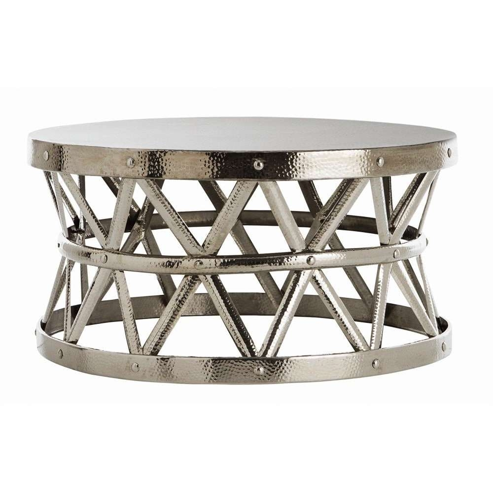 Widely Used Silver Drum Coffee Tables Within Hammered Drum Cross Silver Coffee Table – Free Shipping Today (View 15 of 20)