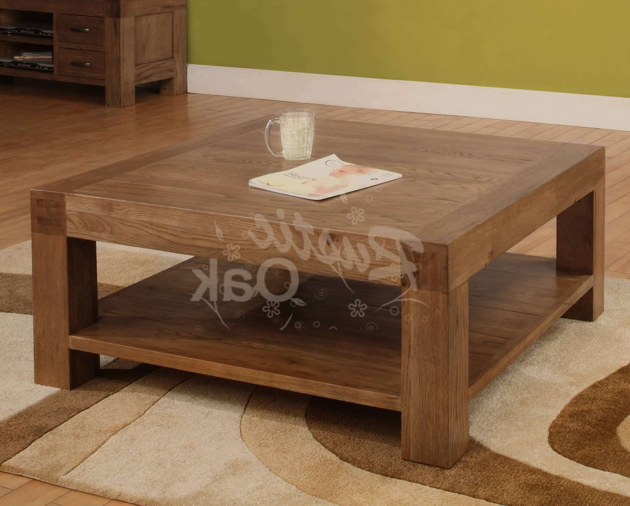 Widely Used Square Oak Coffee Tables Regarding Big Square Coffee Table Wood Tags : Solid Wood Block Coffee Table (View 8 of 20)