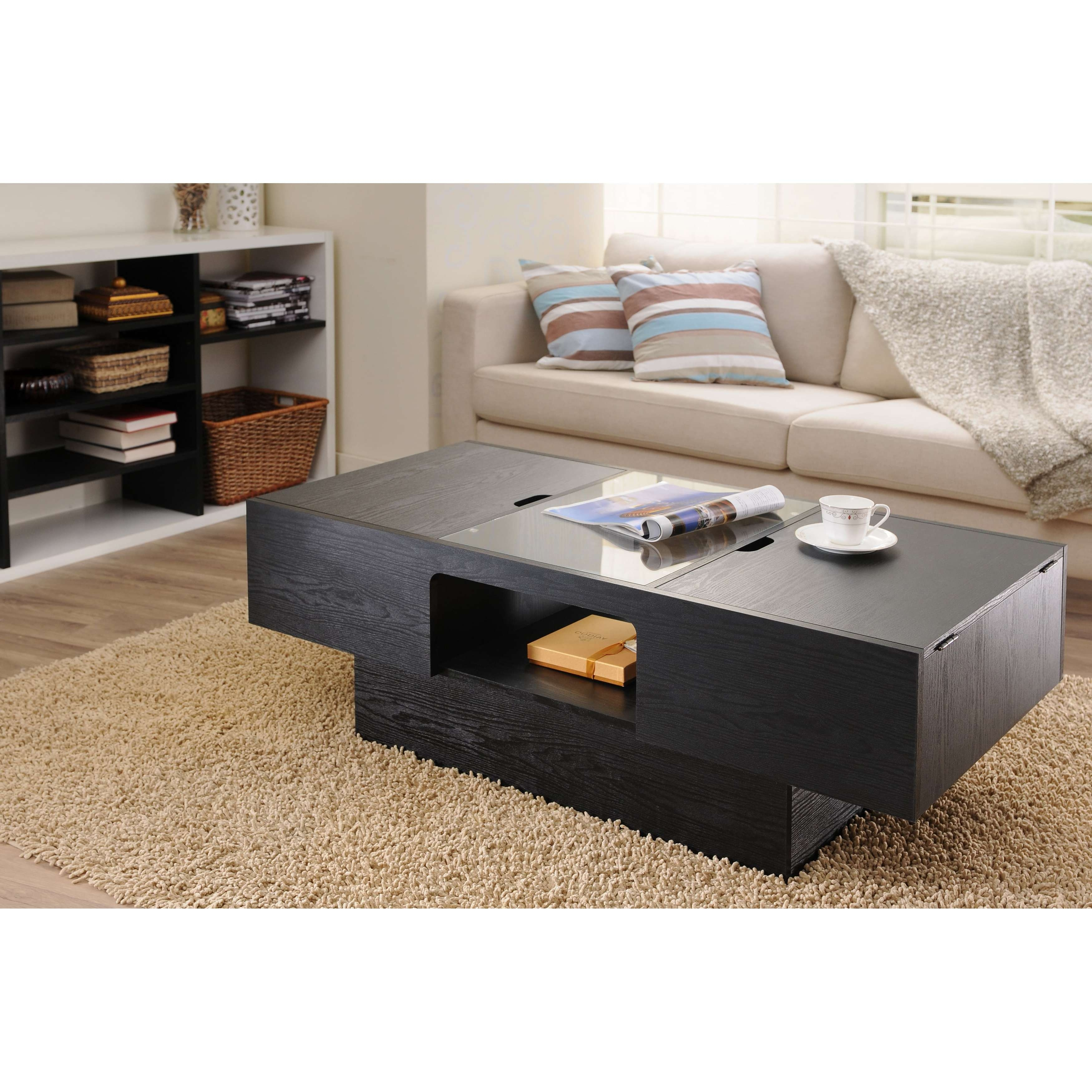 Widely Used Storage Coffee Tables In Furniture Of America Stevie Black Finish Hidden Storage Coffee (View 19 of 20)