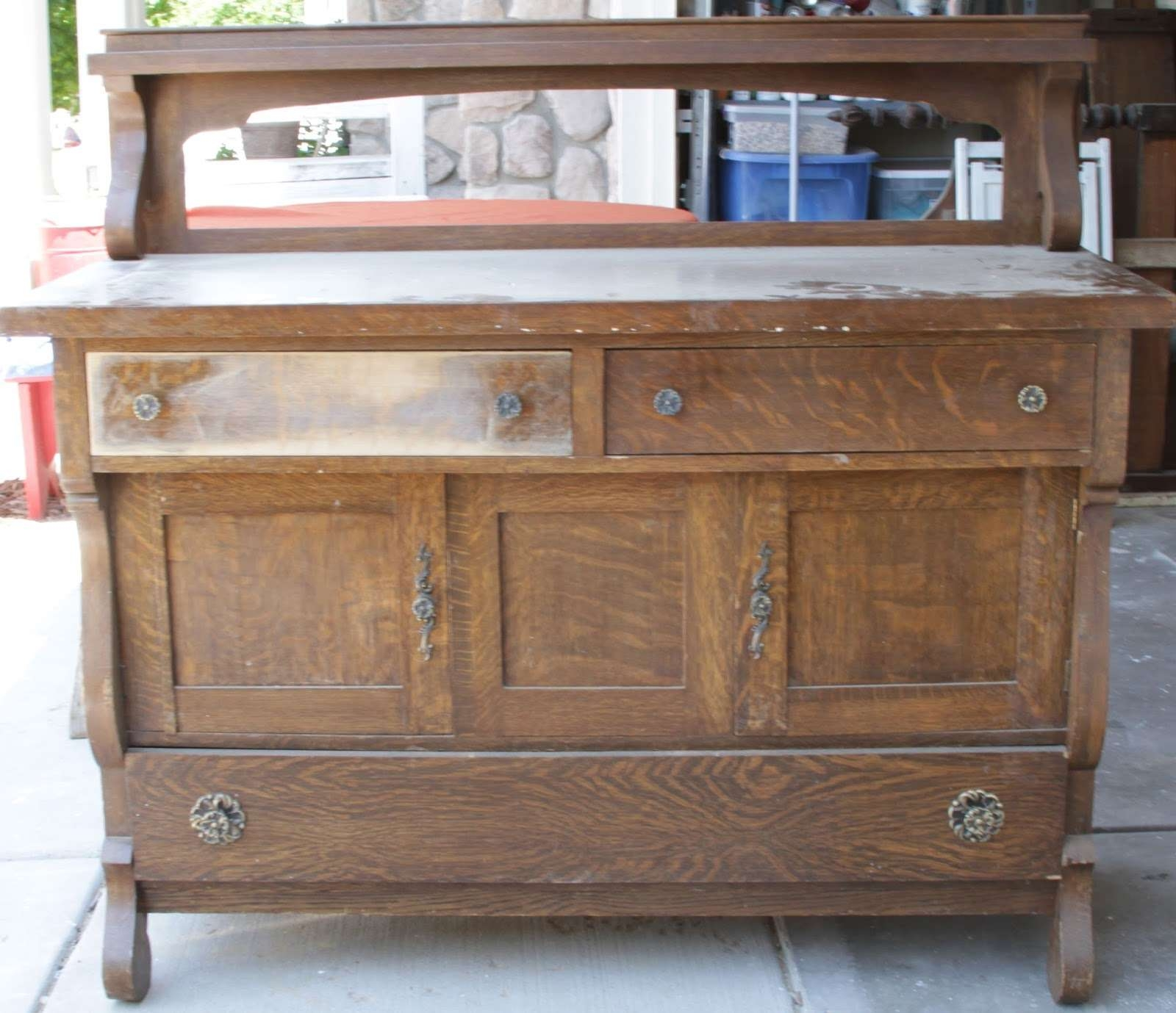 Willow Creek: Antique 3 Toned Distressed Sideboard Buffet For Distressed Sideboards And Buffets (View 6 of 20)