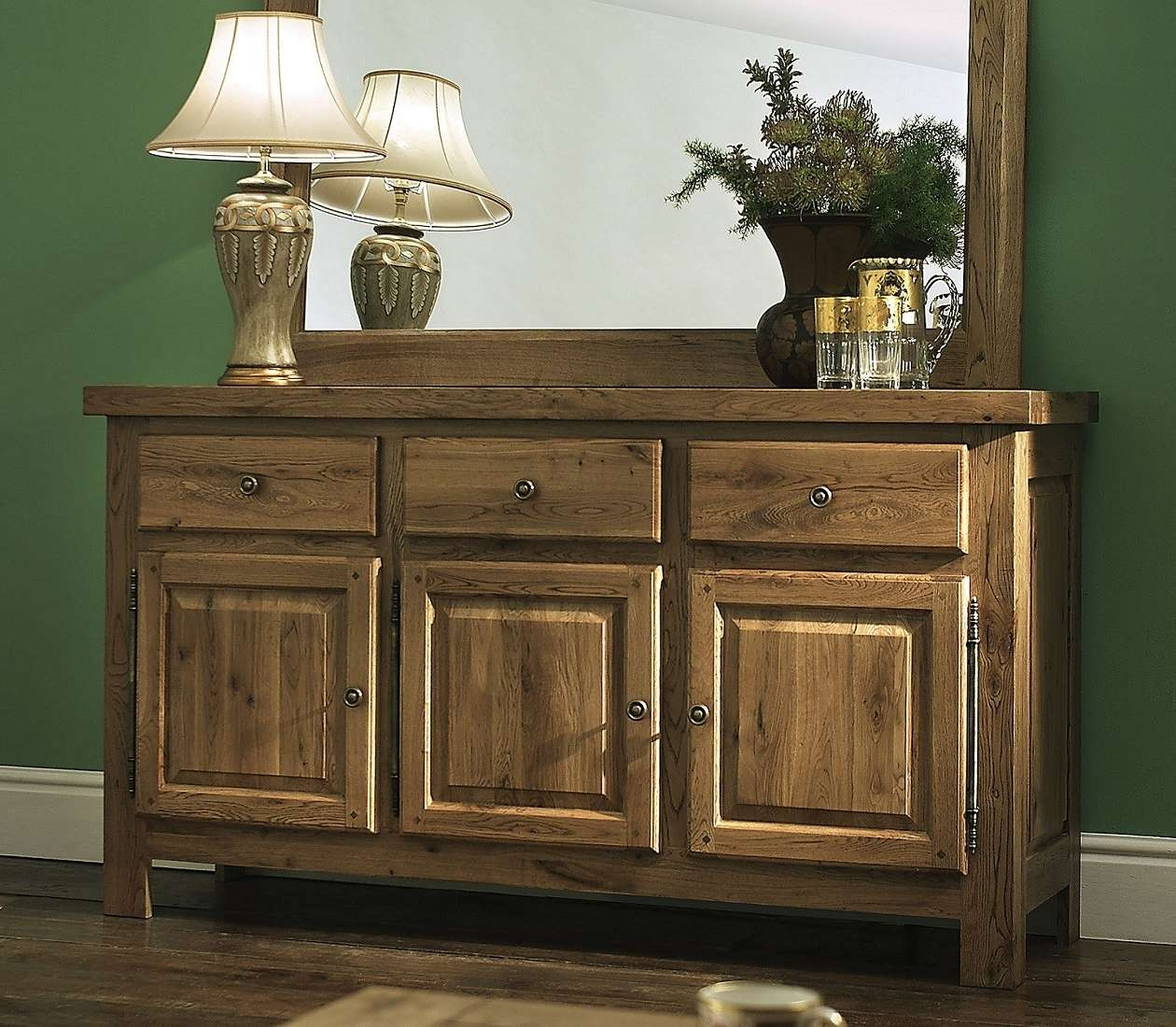 Windermere Solid Oak Large 3 Door Sideboard | Oak Furniture Uk Inside Solid Oak Sideboards (View 20 of 20)