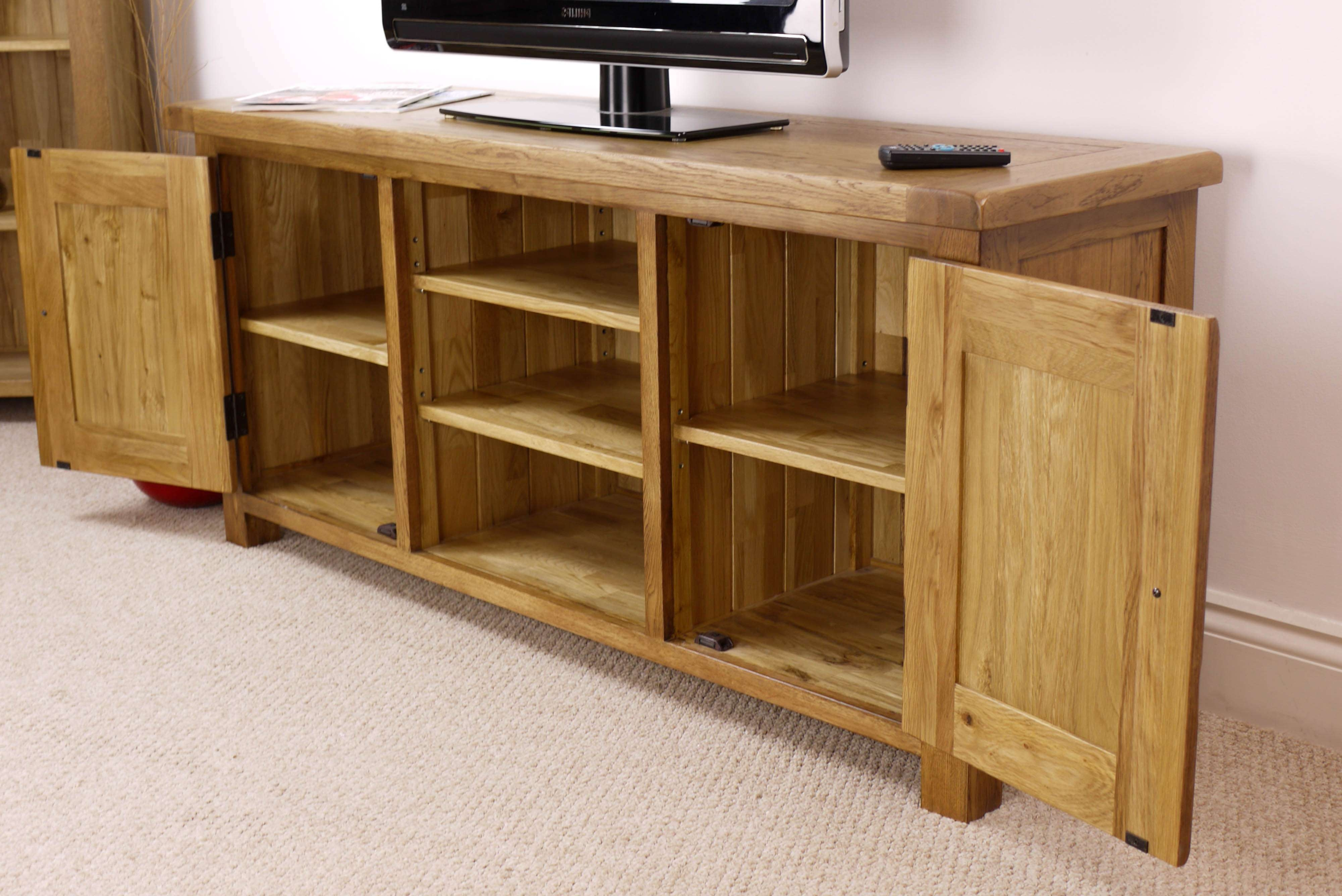 Wonderful Width Cm Pine Solid Wood Large Tv Stand Wide Mcm Tv Within Large Oak Tv Cabinets (View 19 of 20)