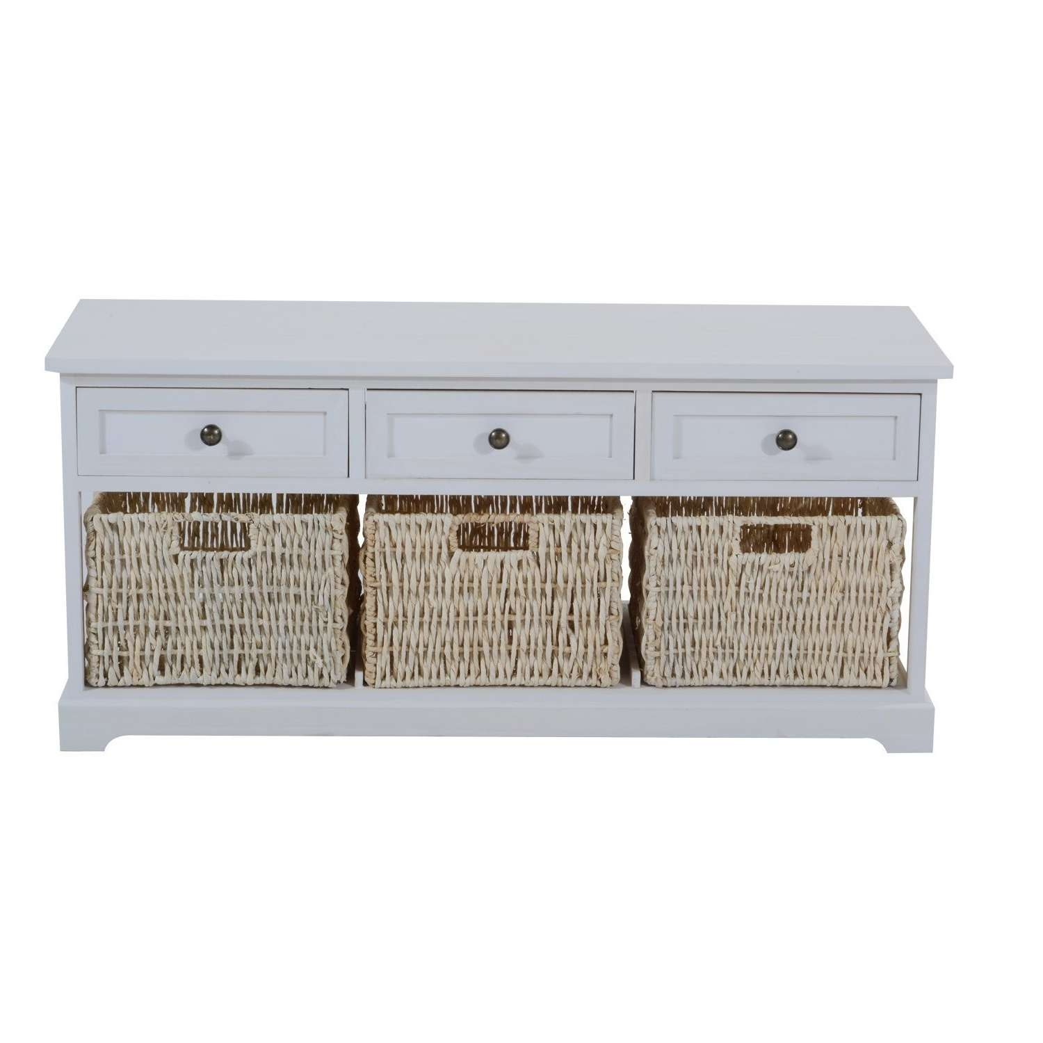 Wooden Coffee Table With Seagrass Wicker Storage Baskets – Ideal With Regard To Widely Used White Coffee Tables With Baskets (View 20 of 20)