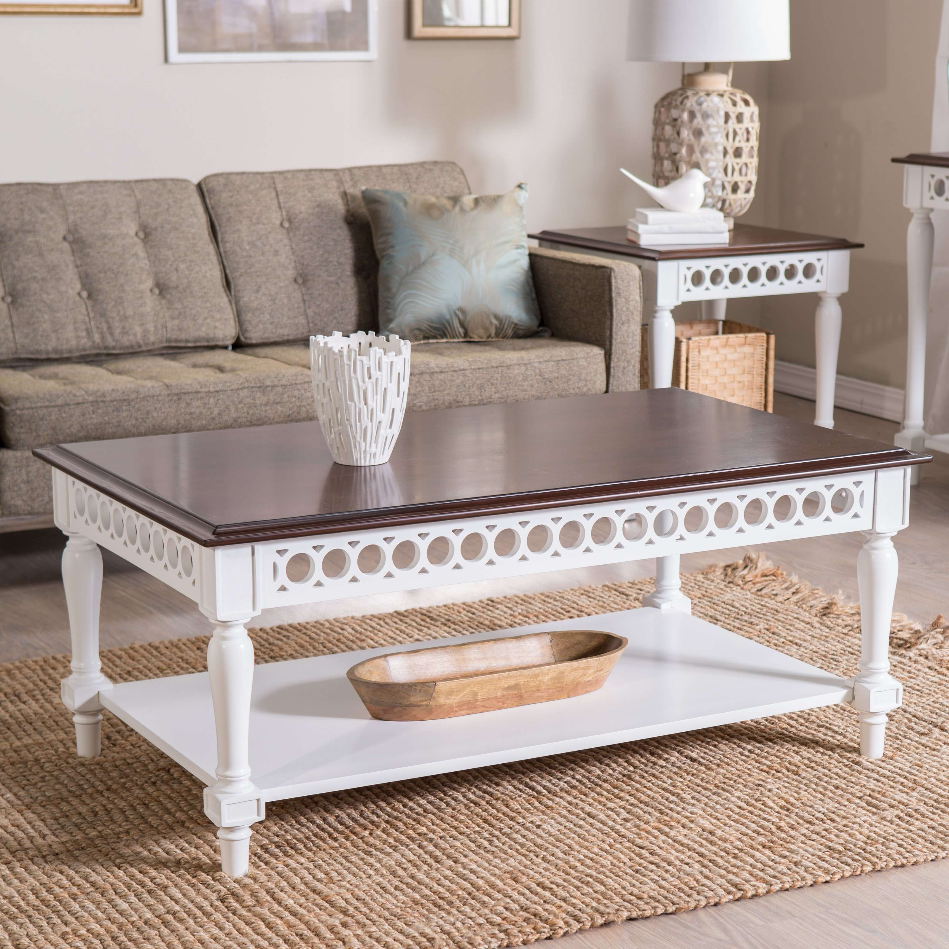 Wooden Coffee Table With White Base And Brown Coffee Table Top For Inside Latest White And Brown Coffee Tables (View 19 of 20)